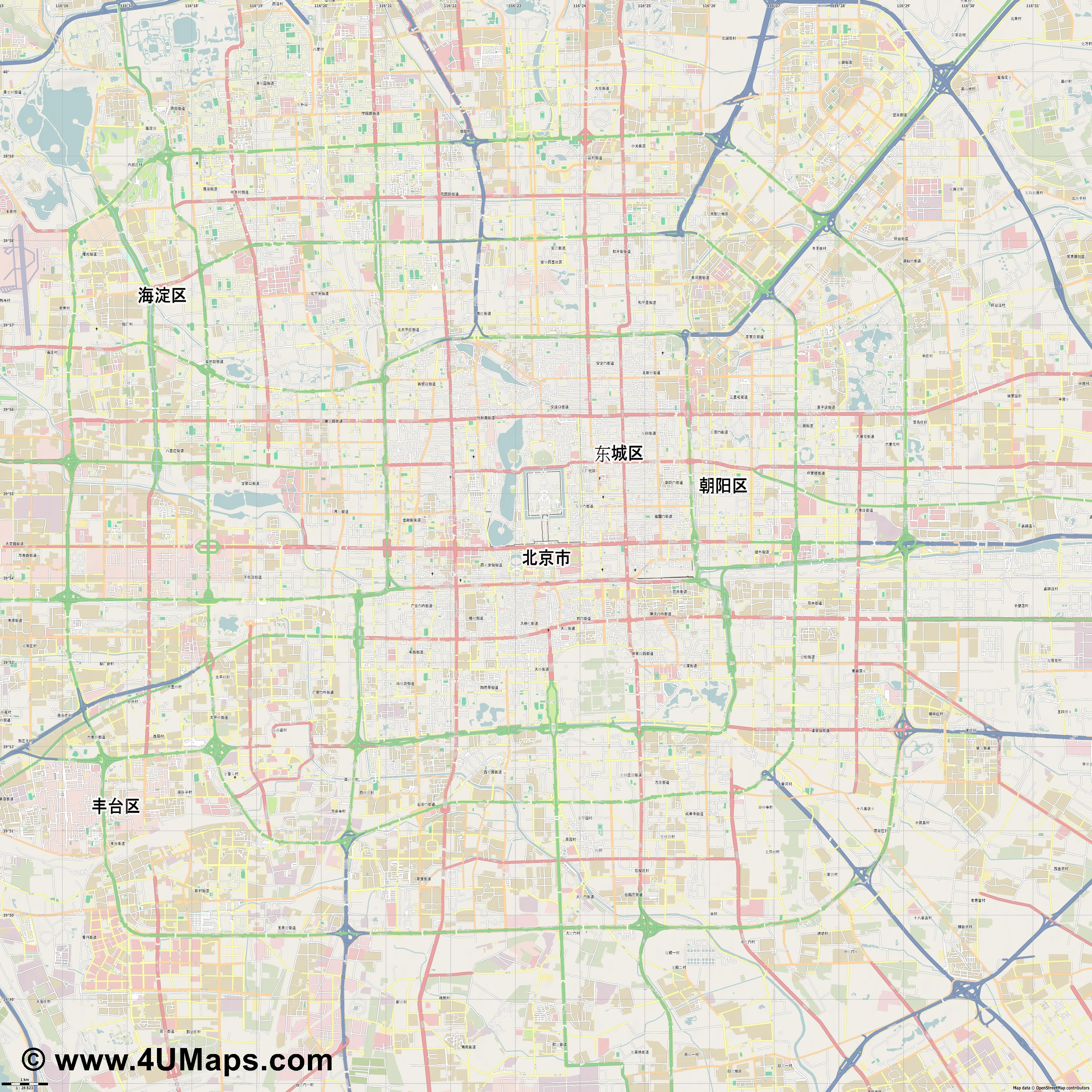 北京市 Beijing Pekín Pékin Pechino Peking  jpg high detail, large area preview vector city map
