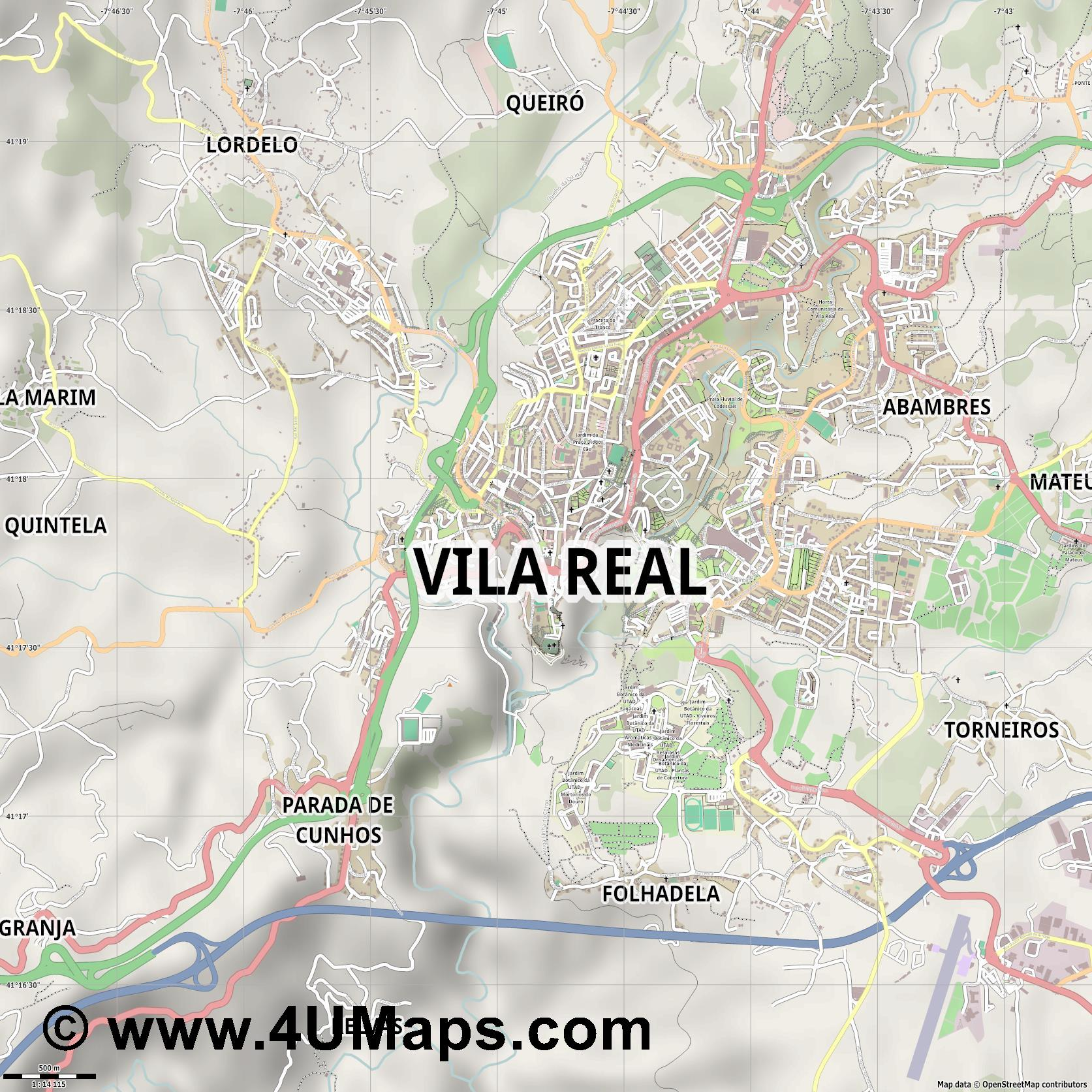 Vila Real  jpg ultra high detail preview vector city map