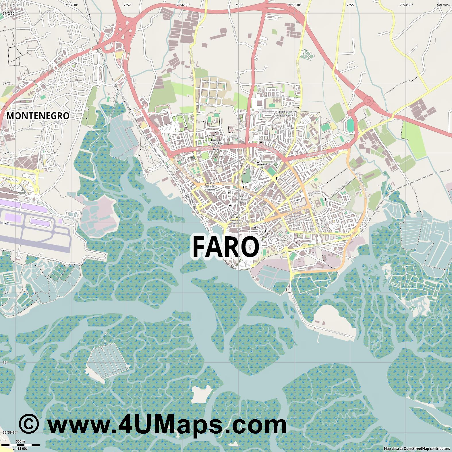 Faro  jpg ultra high detail preview vector city map