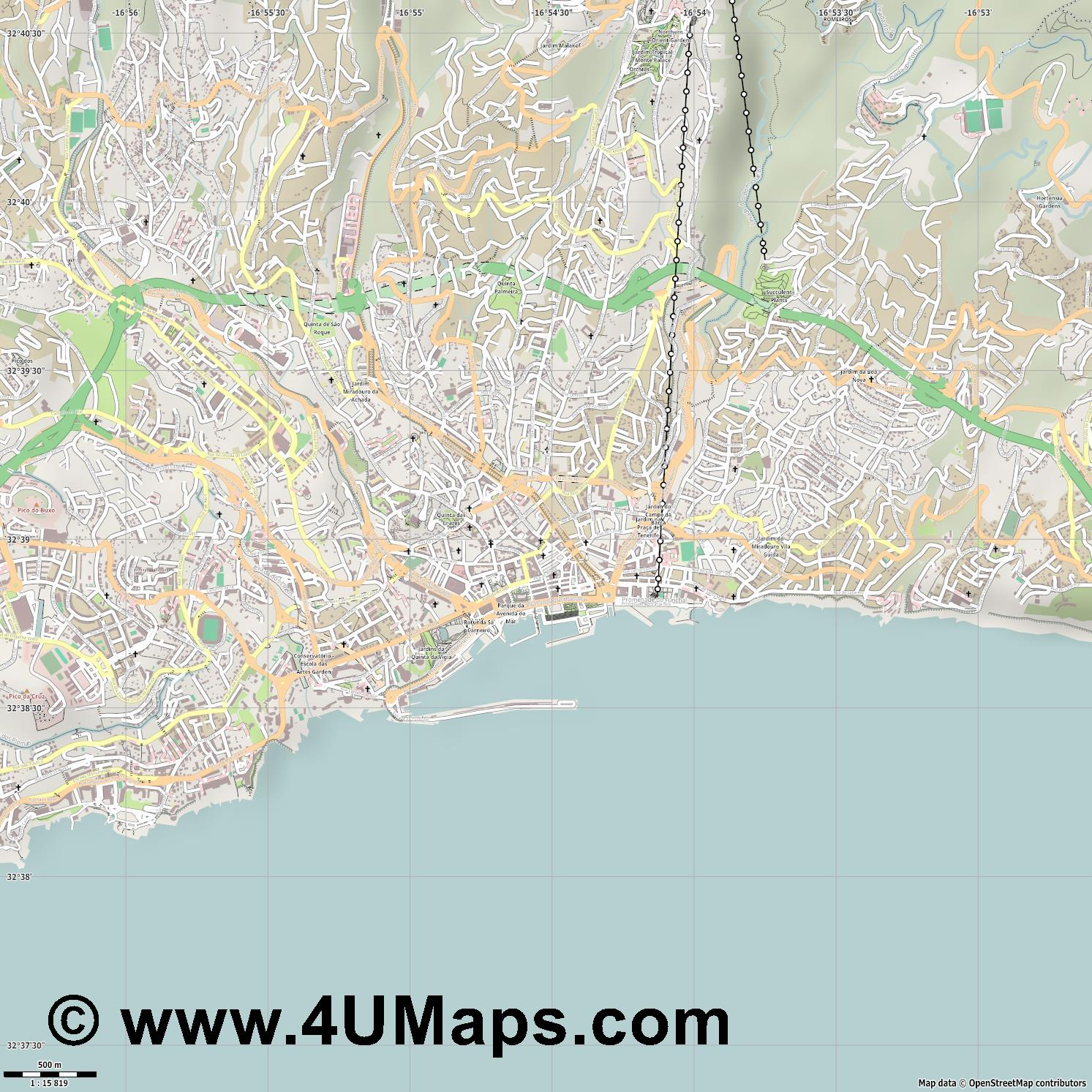 Funchal  jpg ultra high detail preview vector city map