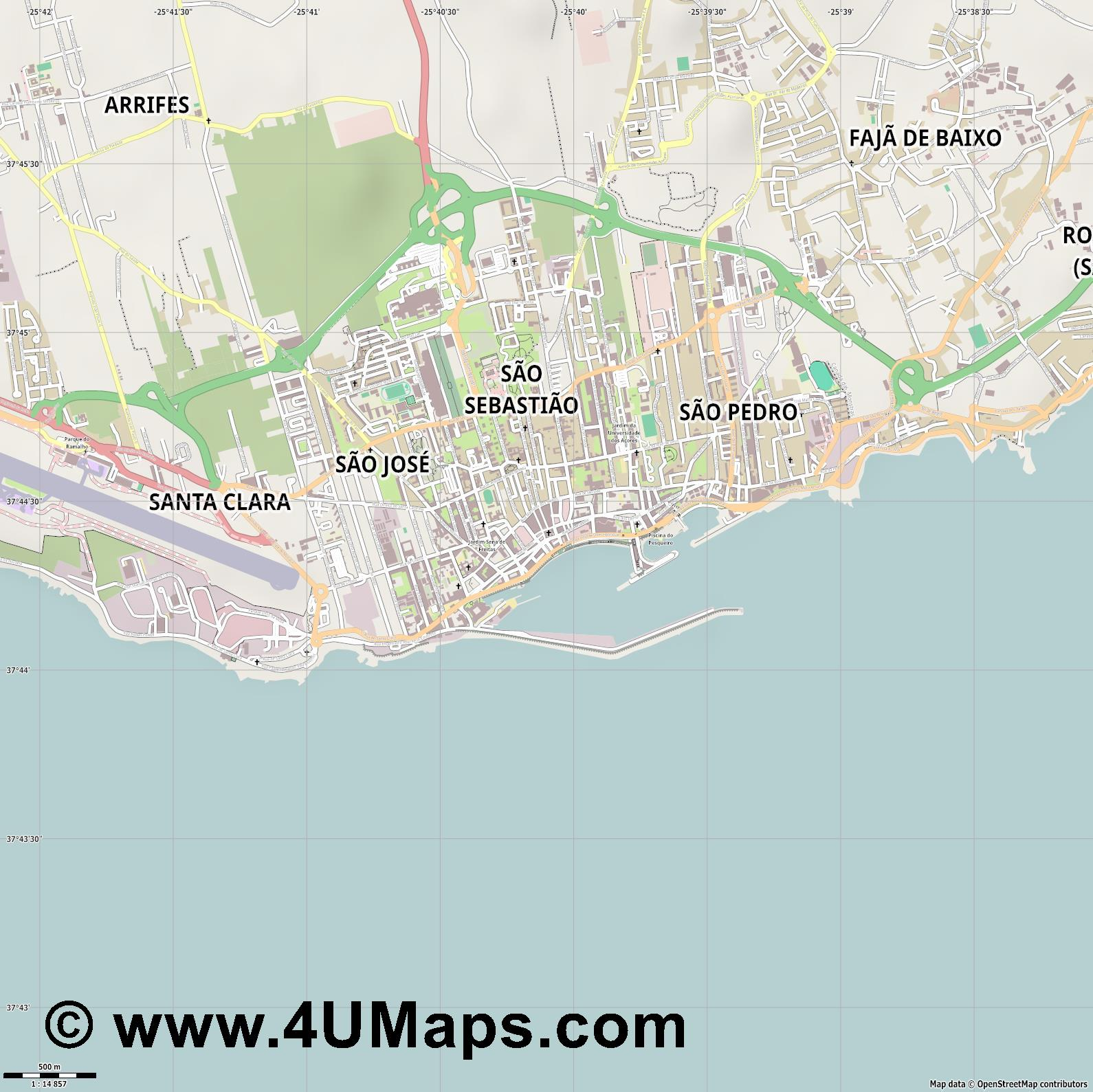 Ponta Delgada  jpg ultra high detail preview vector city map