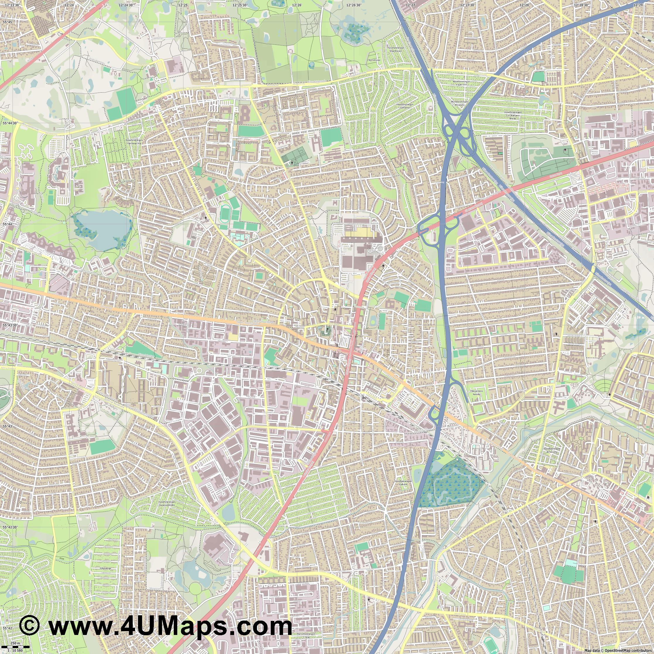 Herlev  jpg ultra high detail preview vector city map