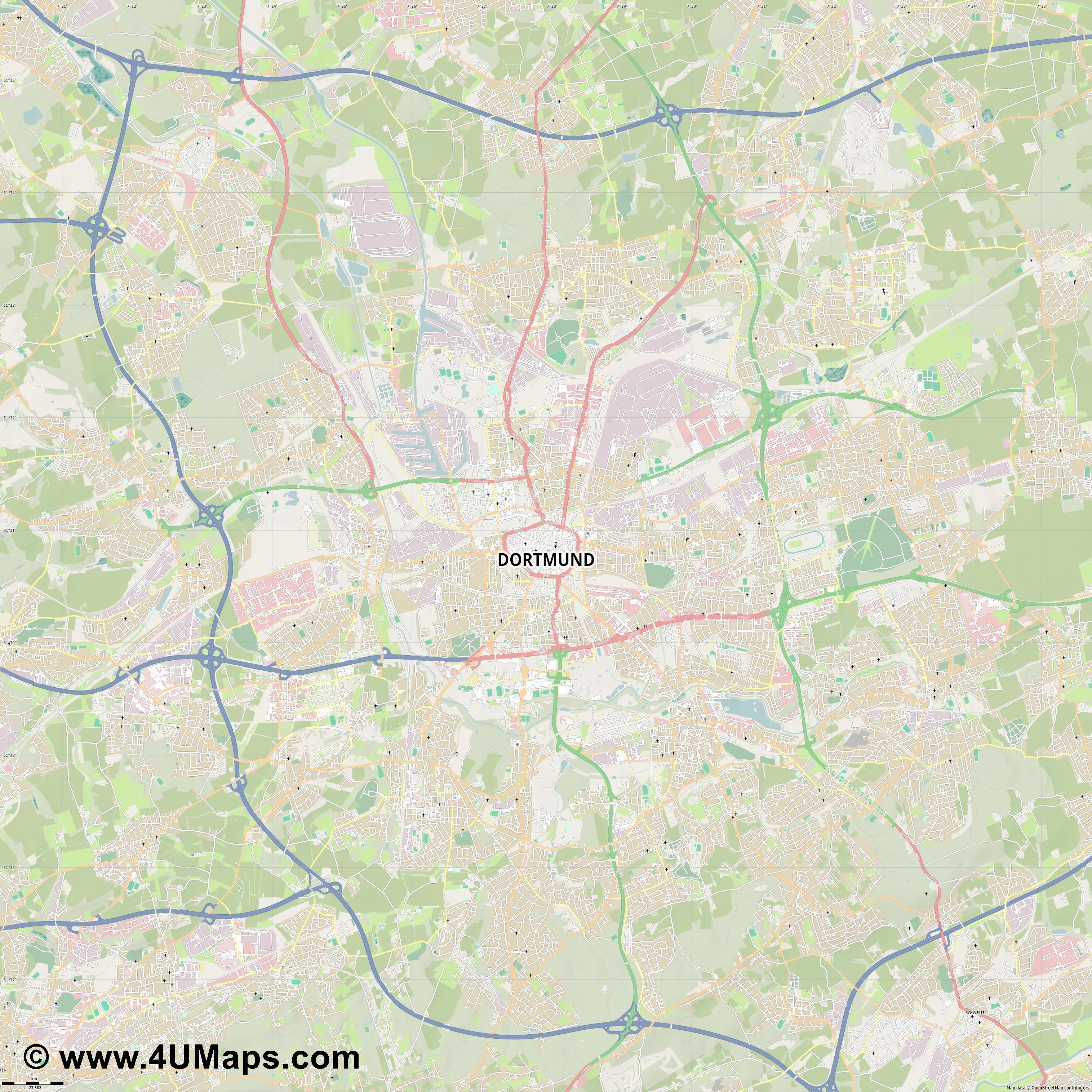 Dortmund  jpg high detail, large area preview vector city map