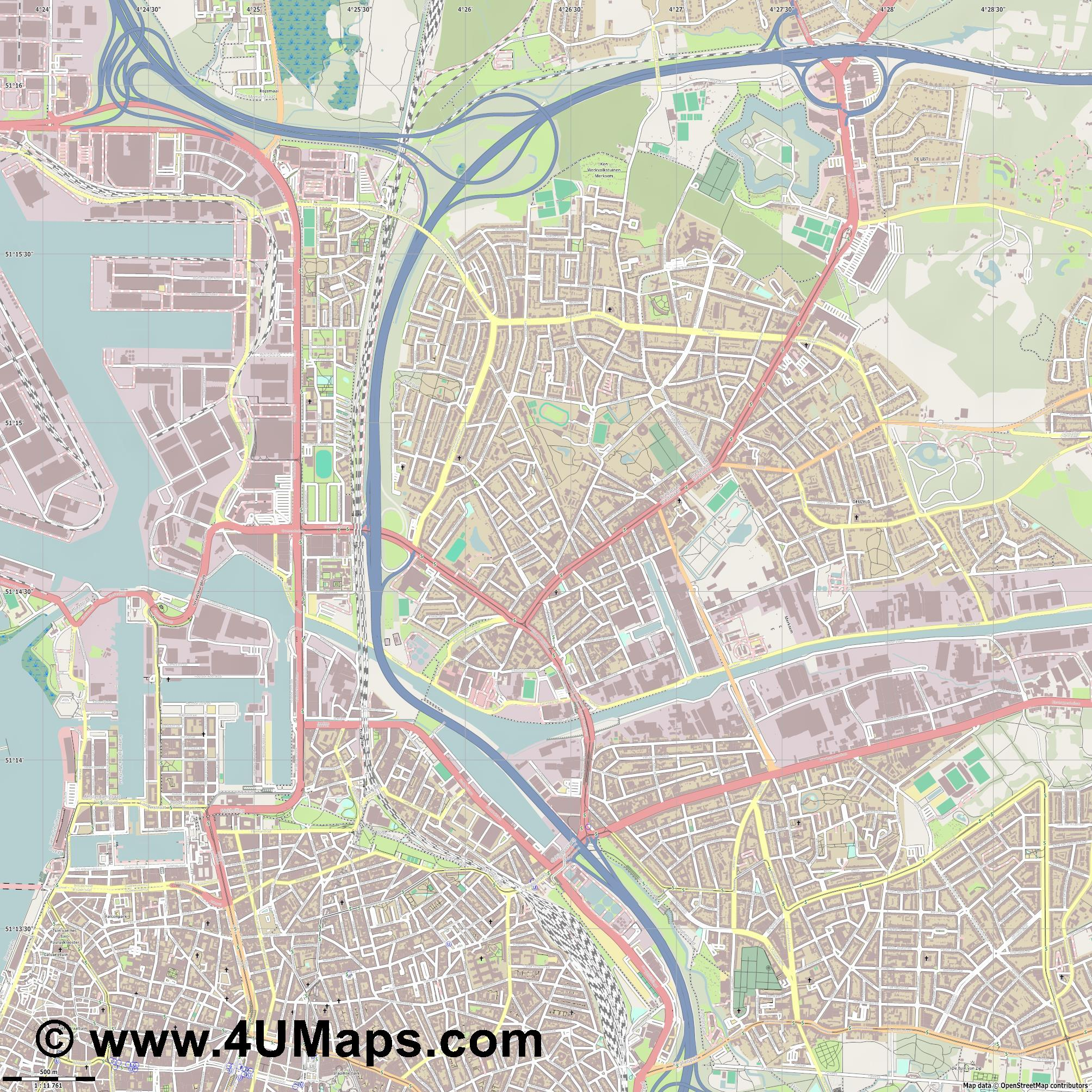 Merksem  jpg ultra high detail preview vector city map