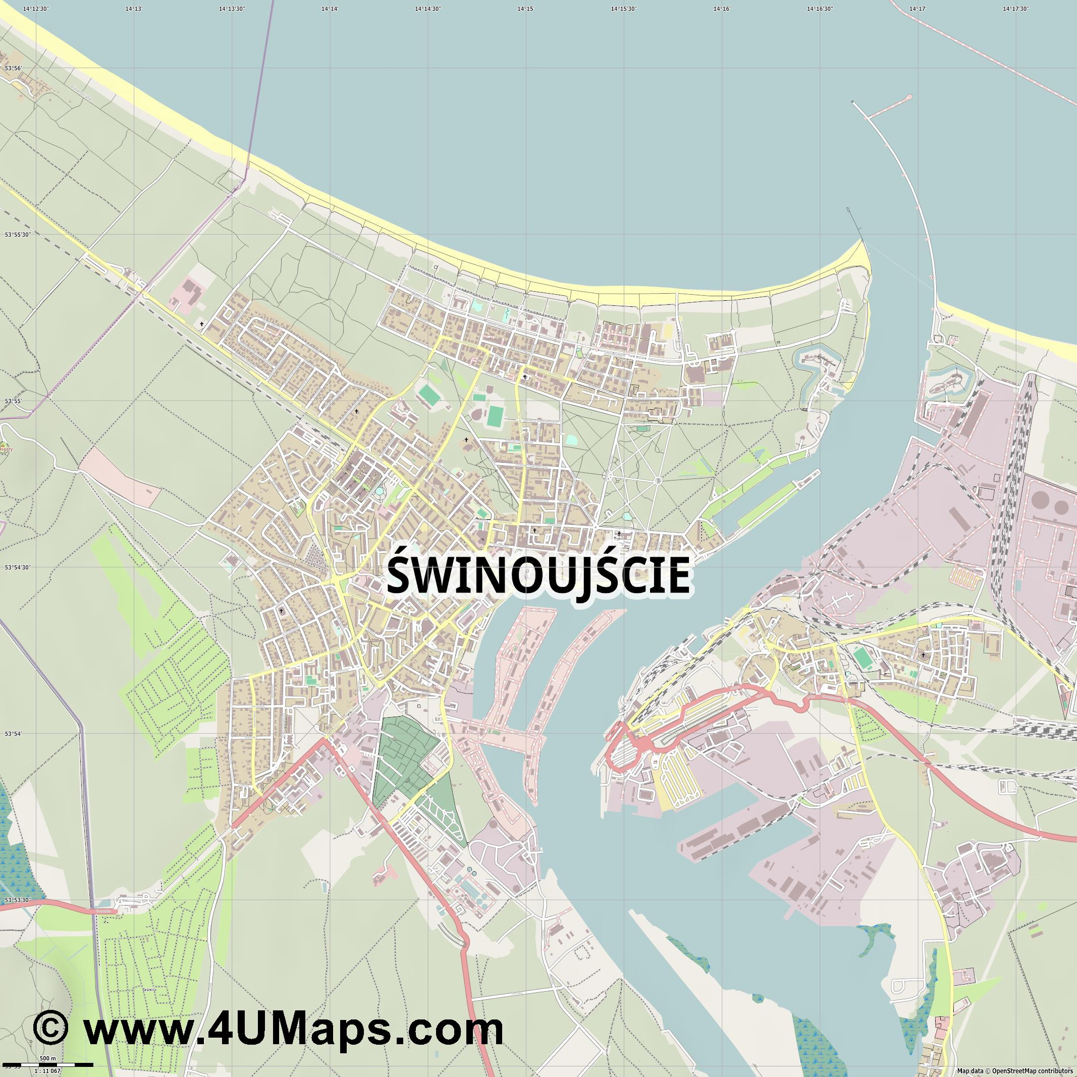 Świnoujście Swinemünde  jpg ultra high detail preview vector city map