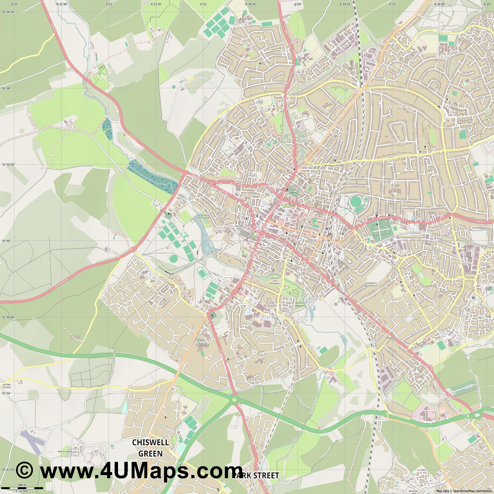 St Albans  jpg ultra high detail preview vector city map