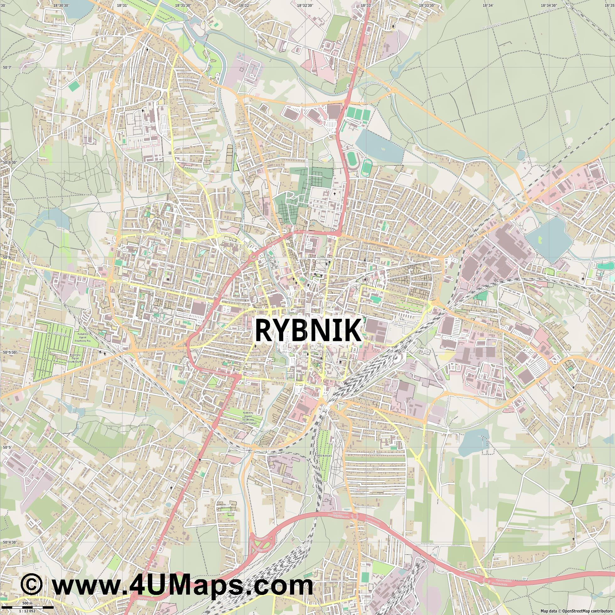 Rybnik  jpg ultra high detail preview vector city map