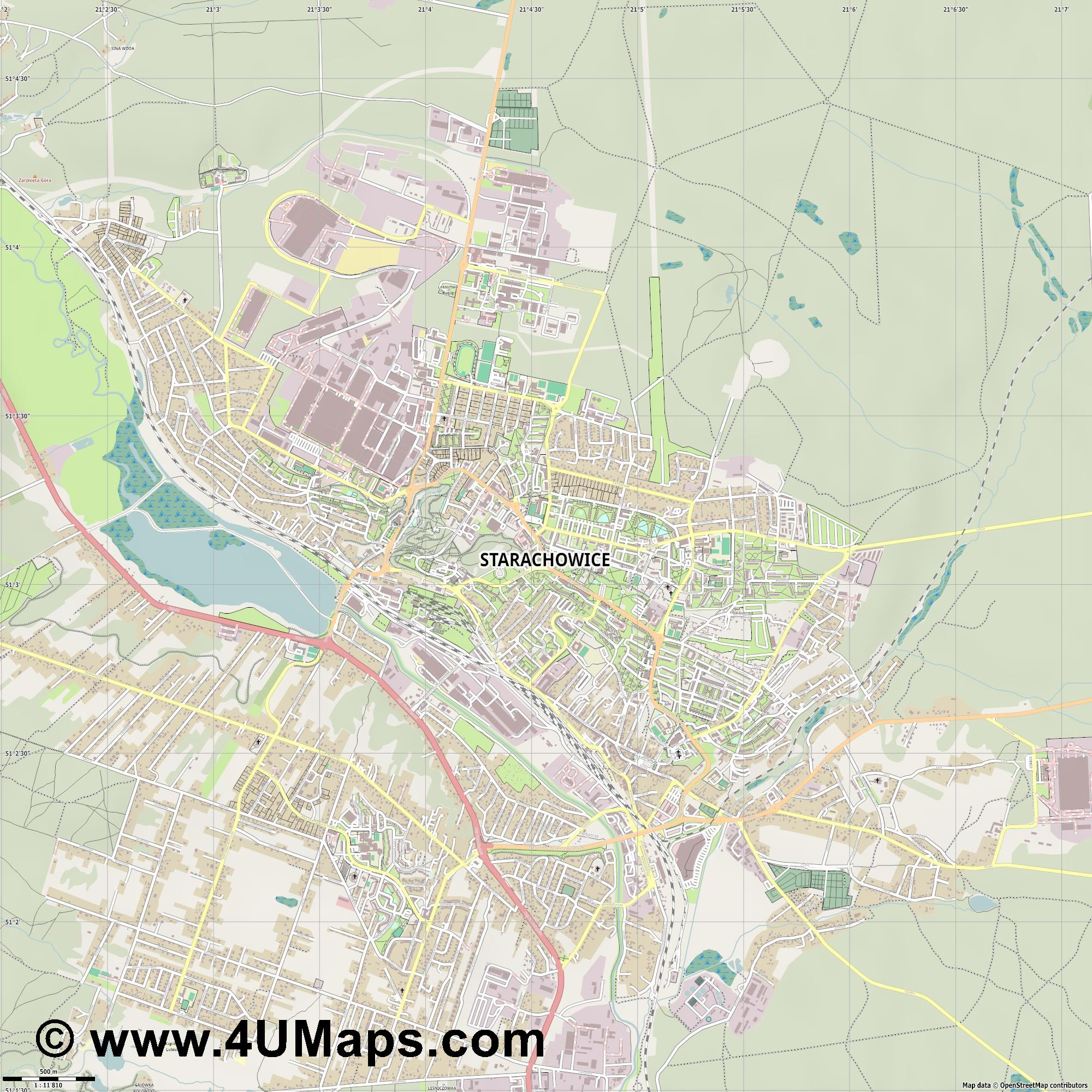 Starachowice  jpg ultra high detail preview vector city map