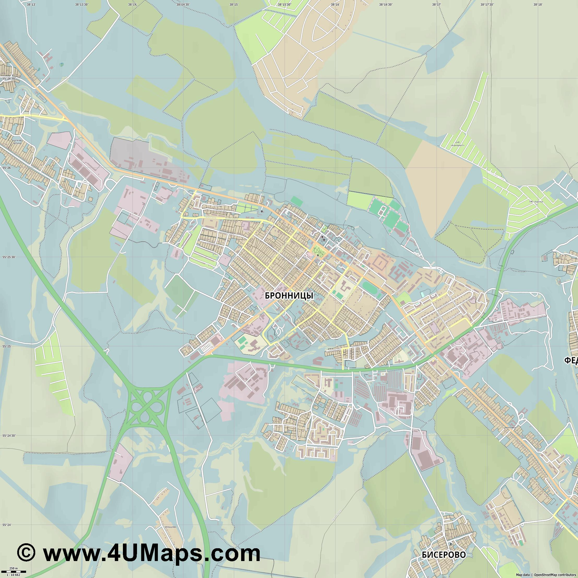 Бронницы Bronnitsy Bronnizy  jpg ultra high detail preview vector city map