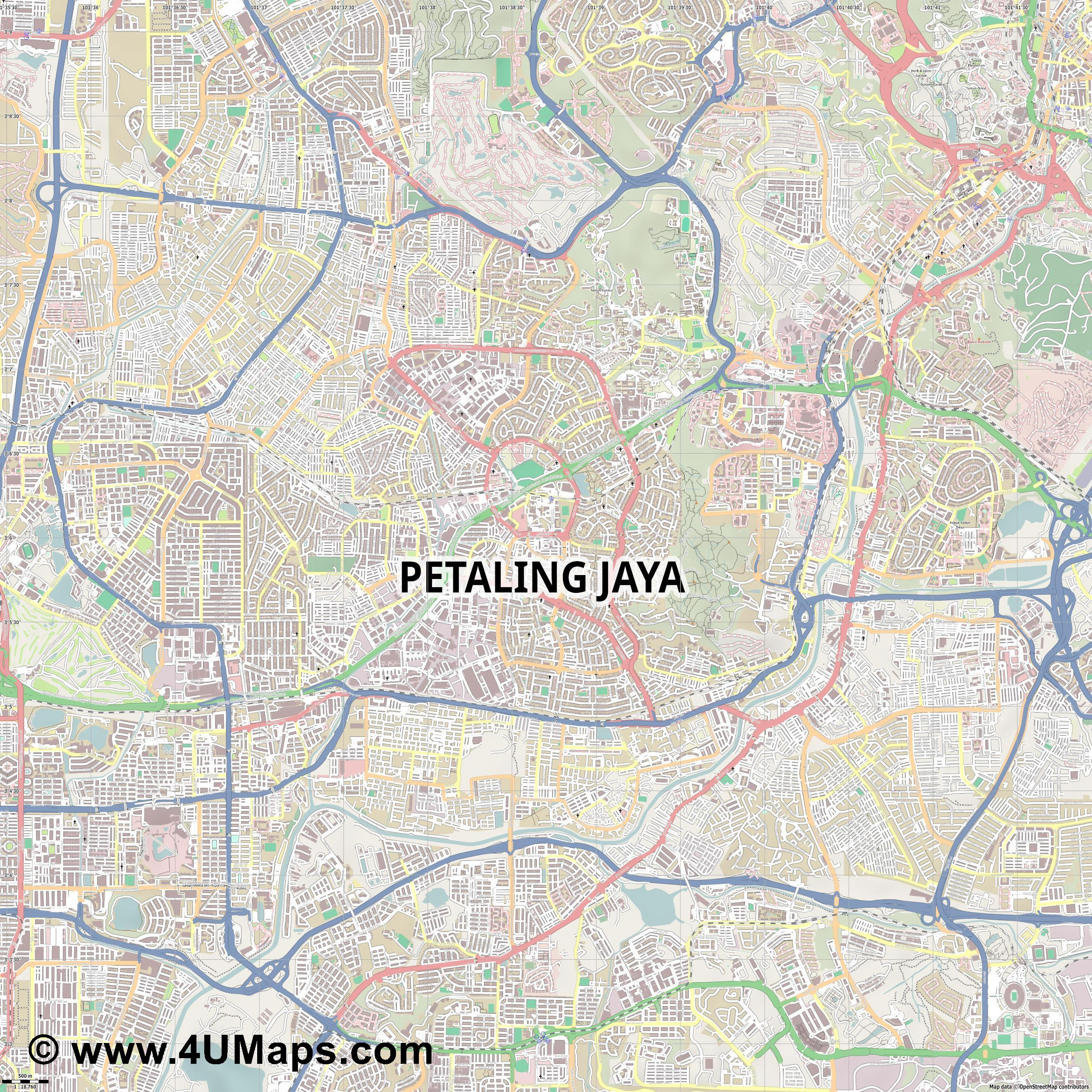 Petaling Jaya  jpg ultra high detail preview vector city map