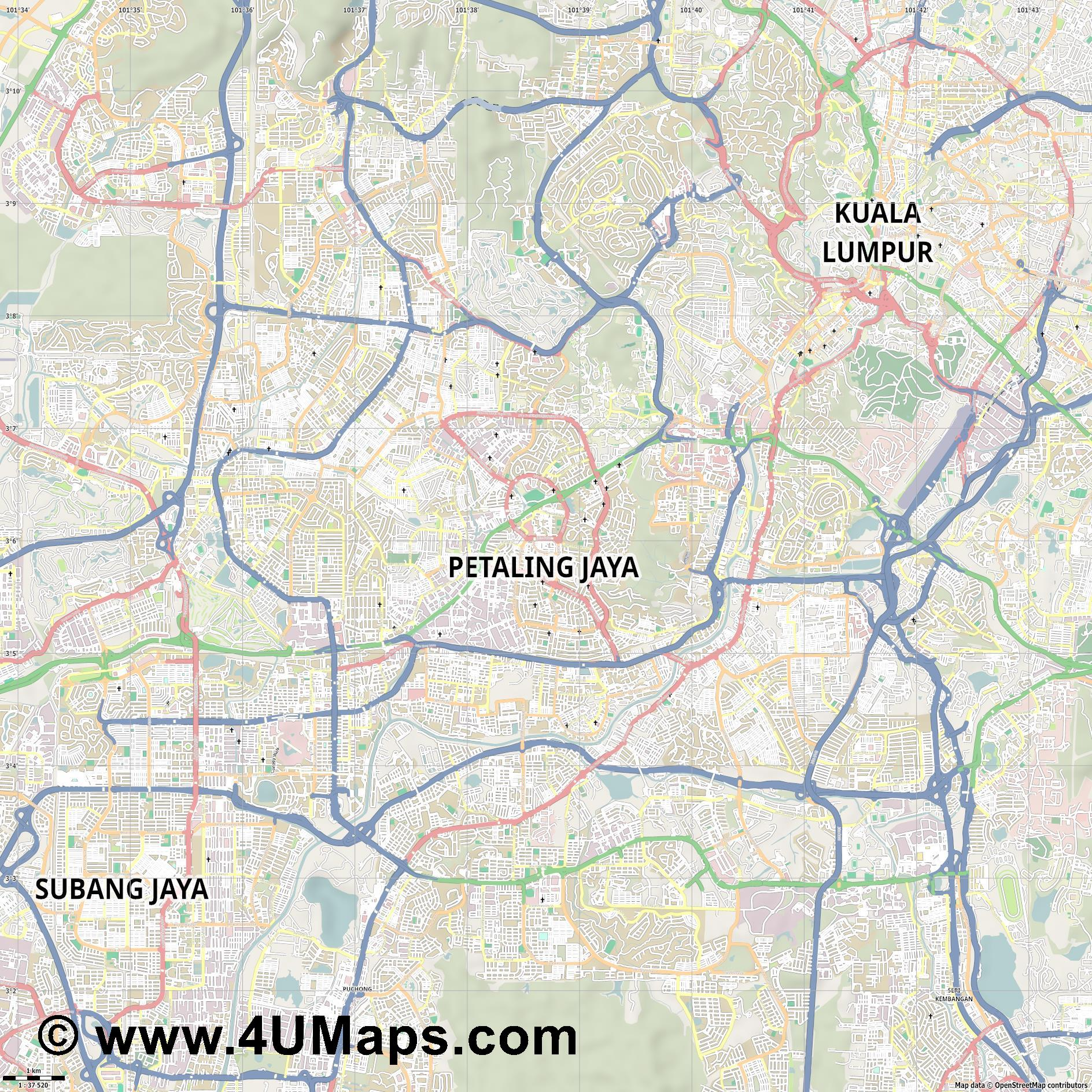 Petaling Jaya  jpg high detail, large area preview vector city map