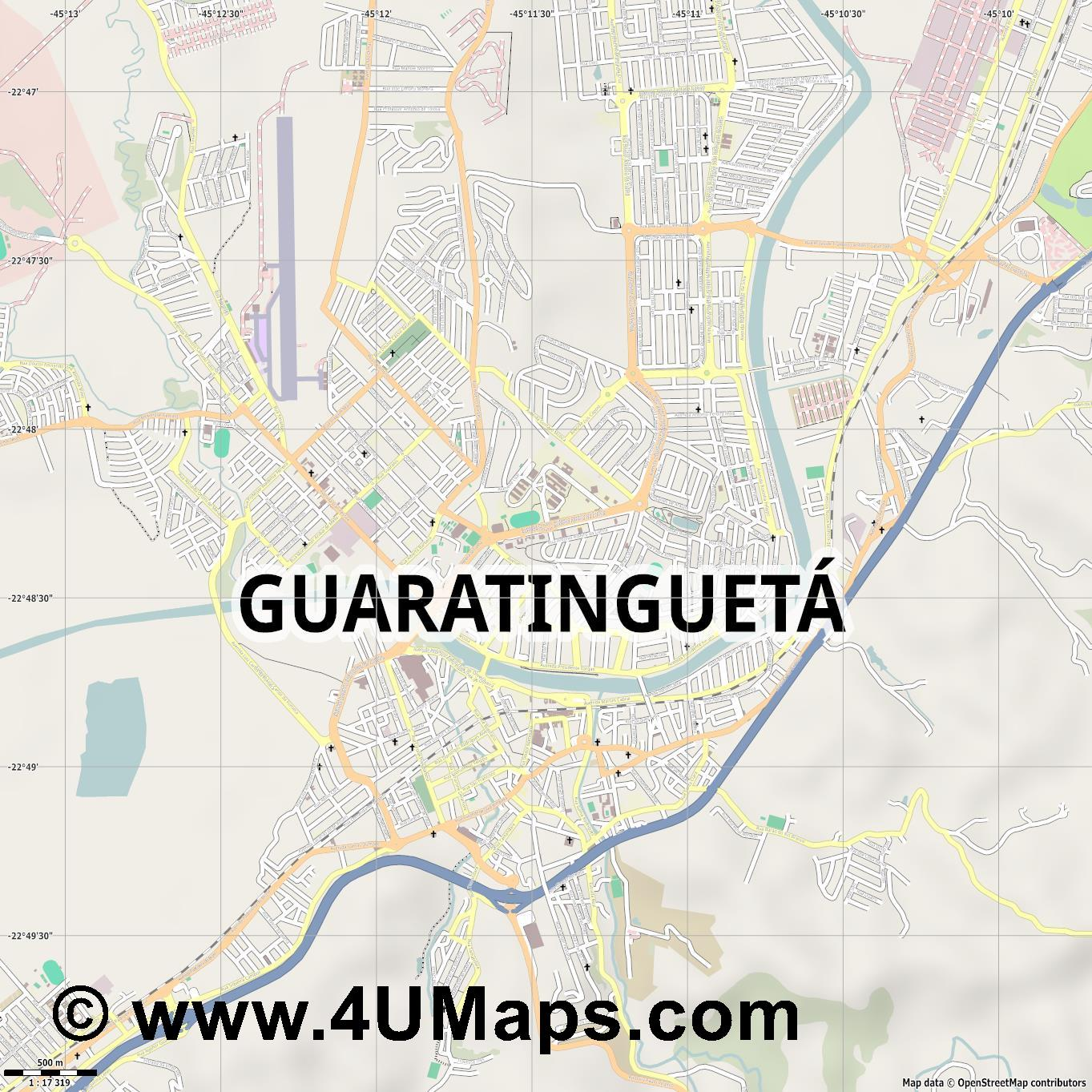 Guaratinguetá  jpg ultra high detail preview vector city map