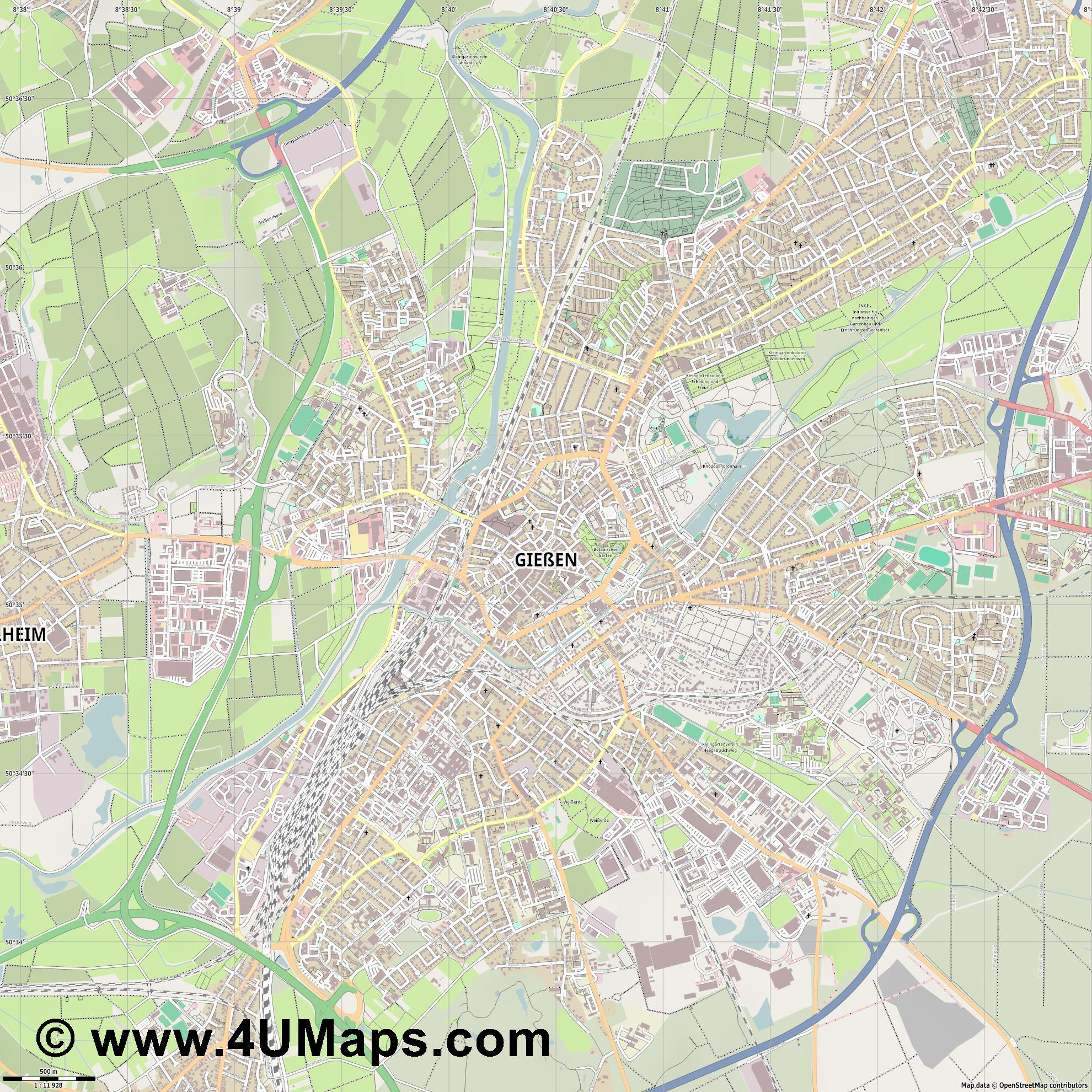 Gießen  jpg ultra high detail preview vector city map