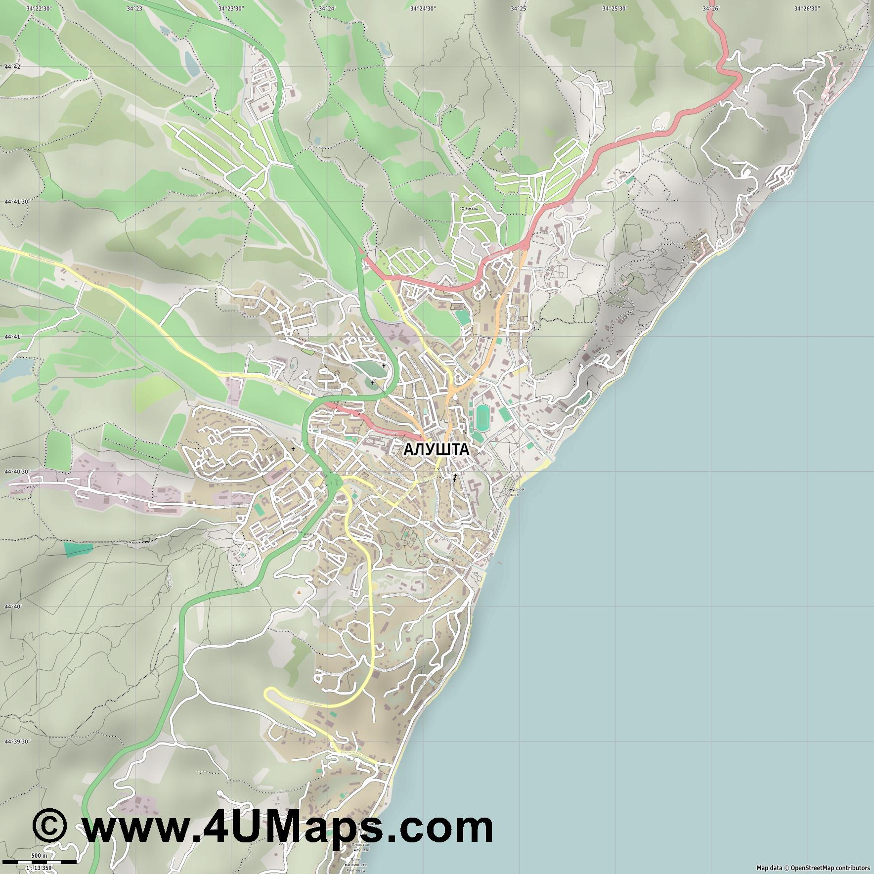 Алушта Alushta Alouchta Aluschta  jpg ultra high detail preview vector city map