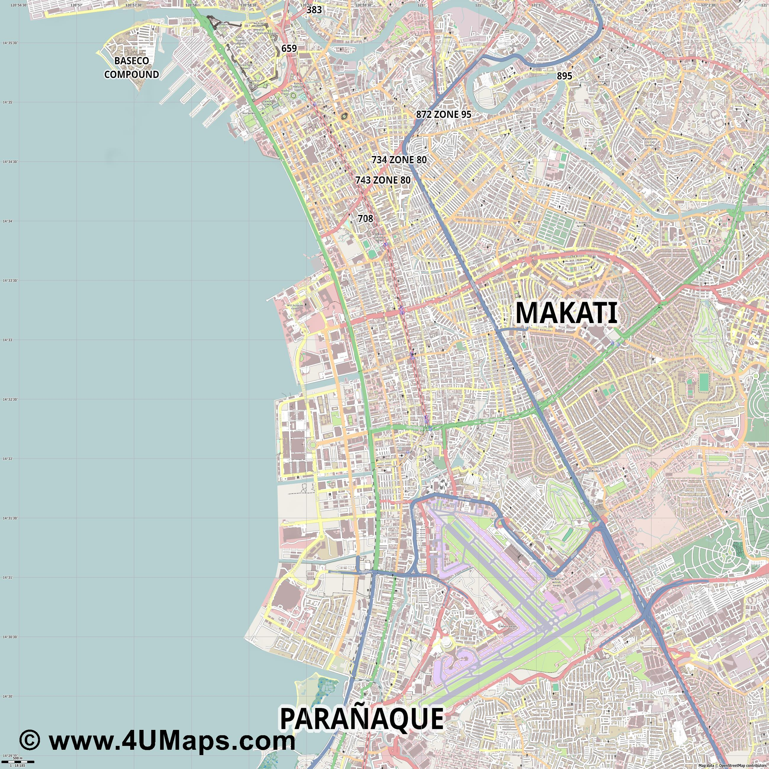 Pasay  jpg ultra high detail preview vector city map