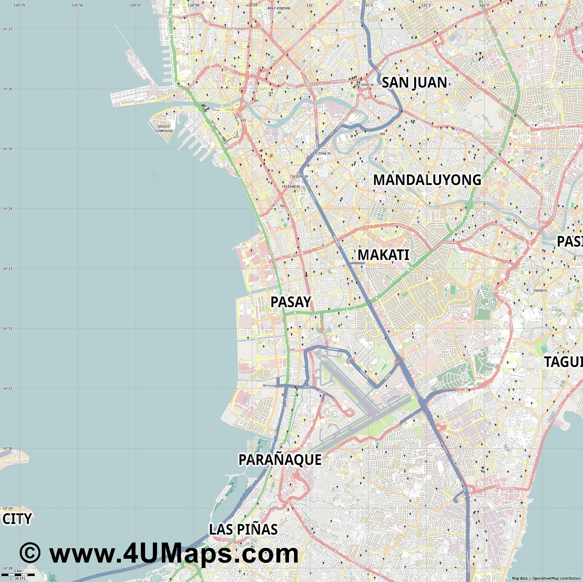 Pasay  jpg high detail, large area preview vector city map