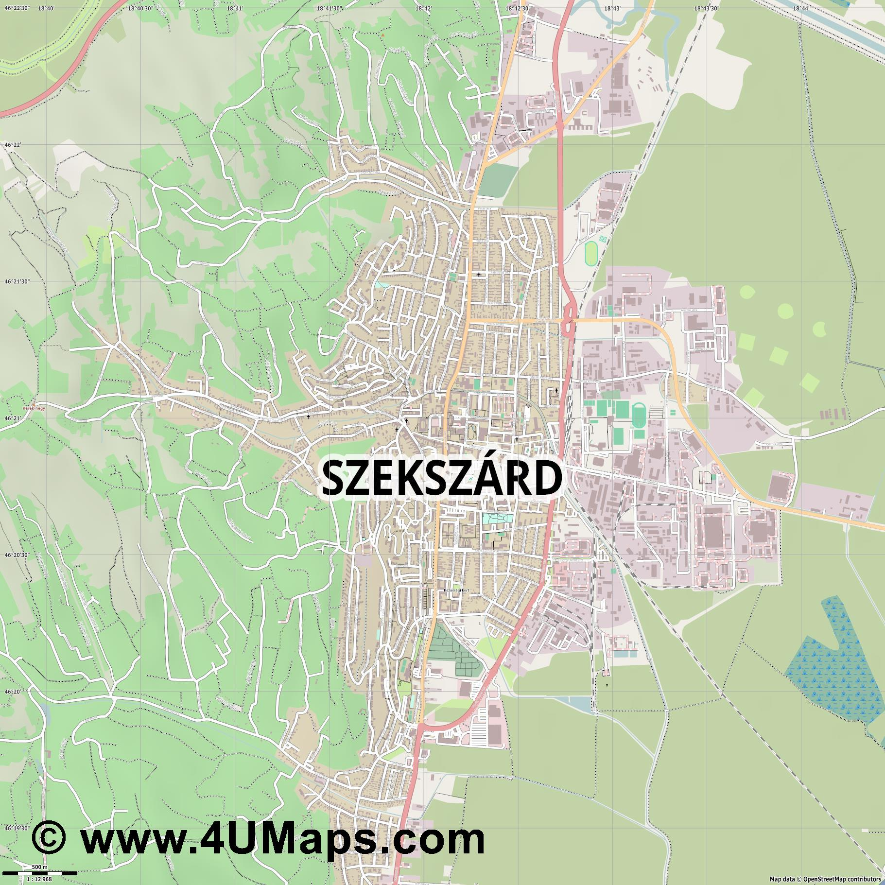 Szekszárd Sechshard  jpg ultra high detail preview vector city map