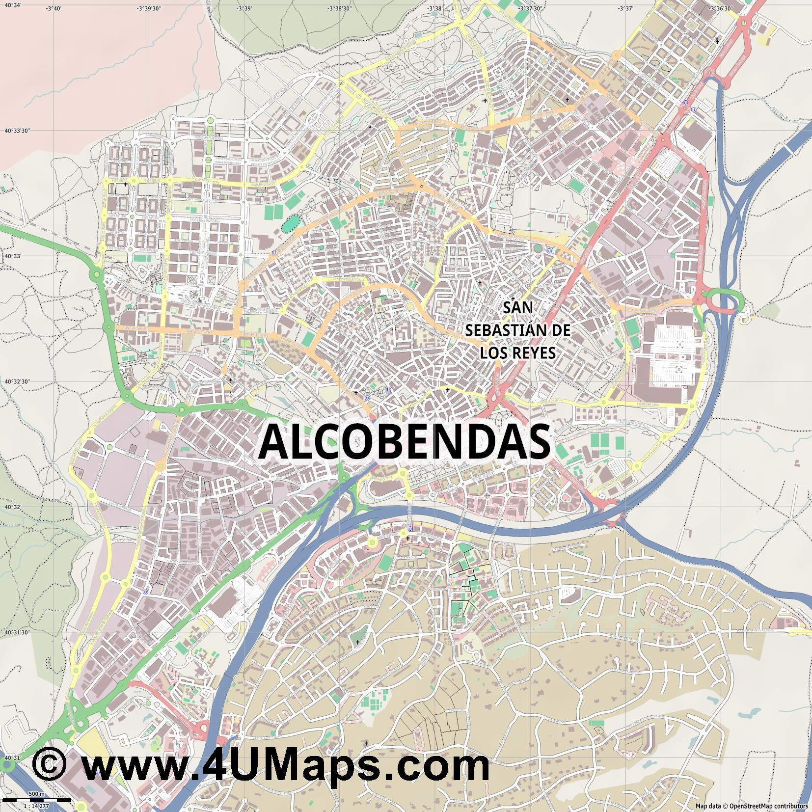Alcobendas  jpg ultra high detail preview vector city map