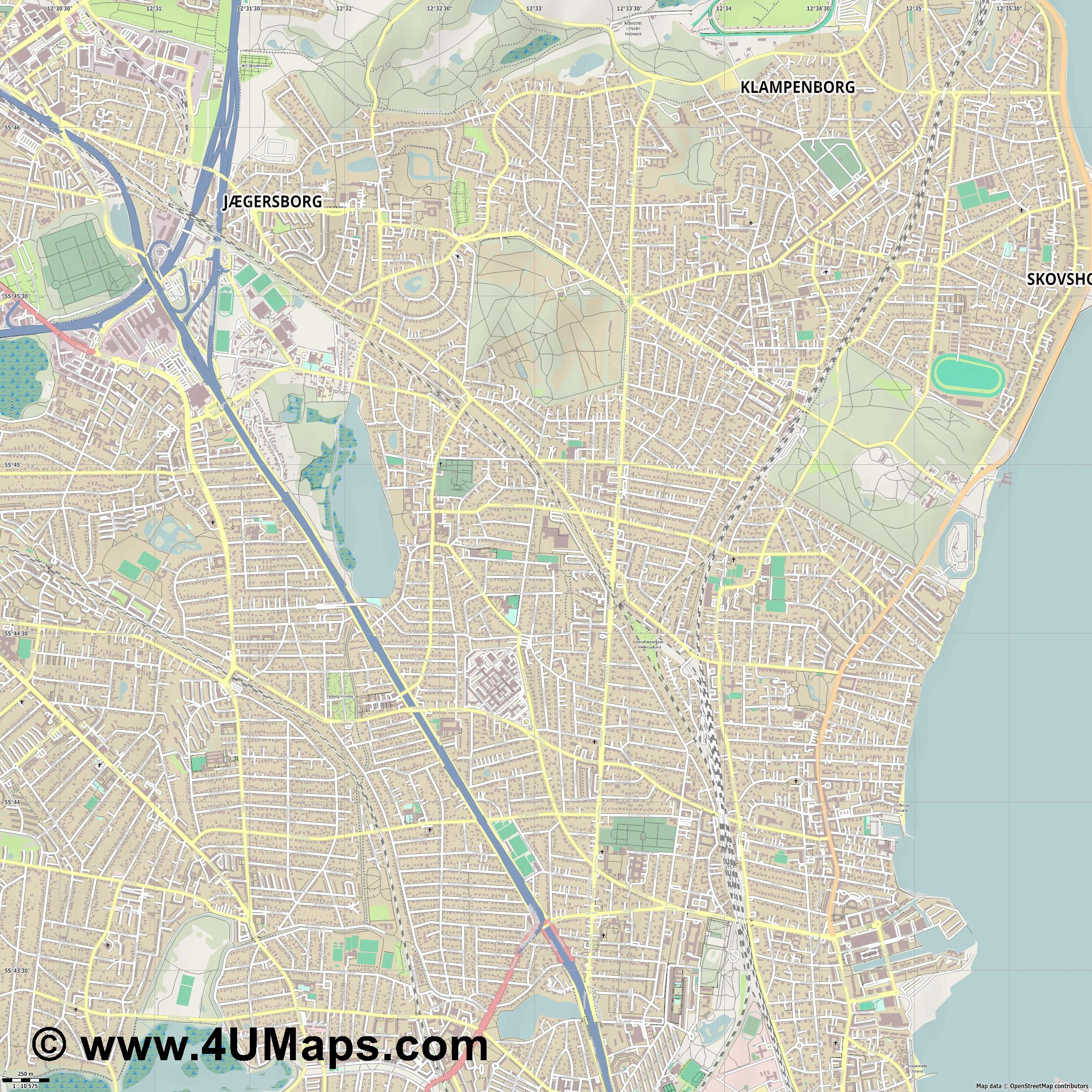 Gentofte  jpg ultra high detail preview vector city map