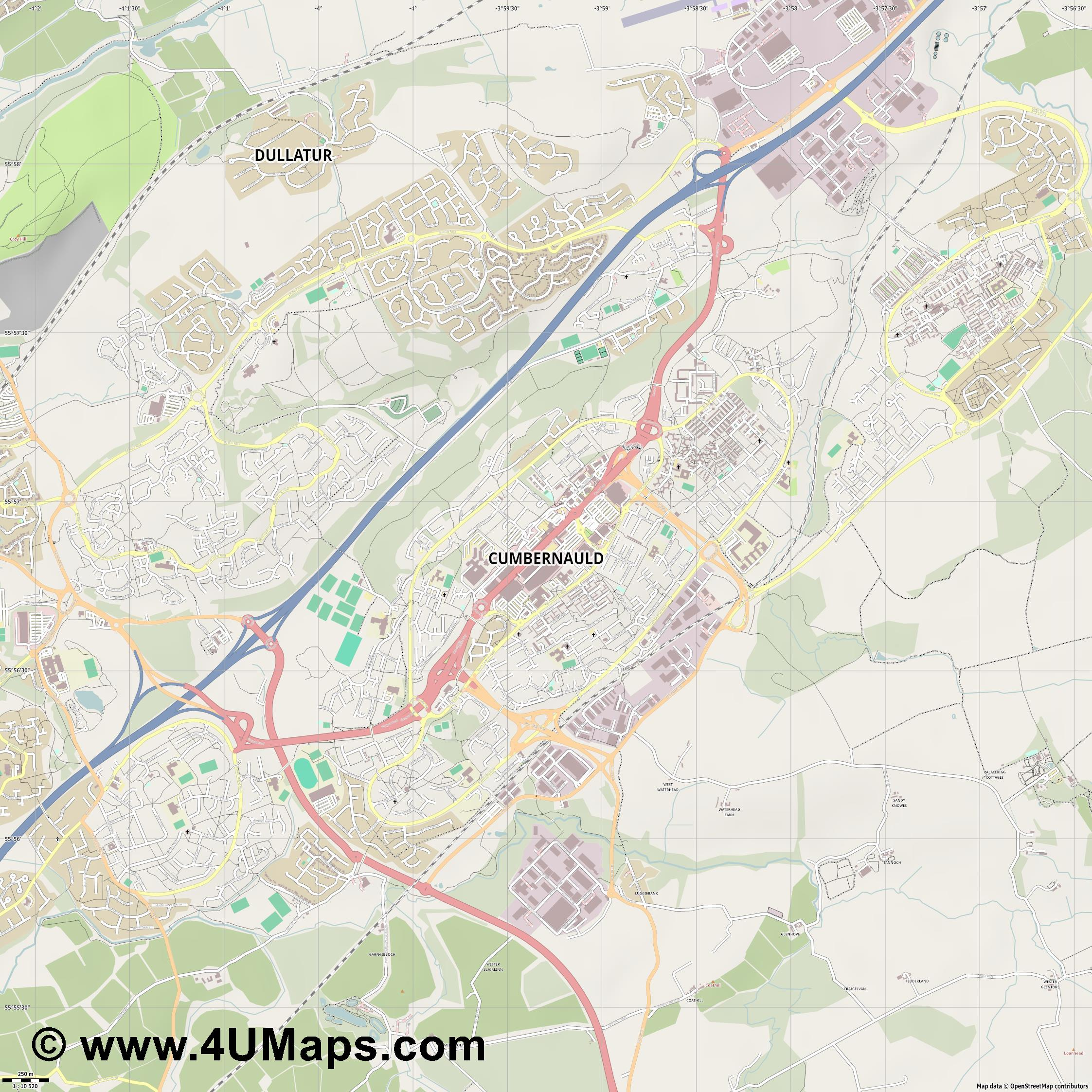 Cumbernauld  jpg ultra high detail preview vector city map