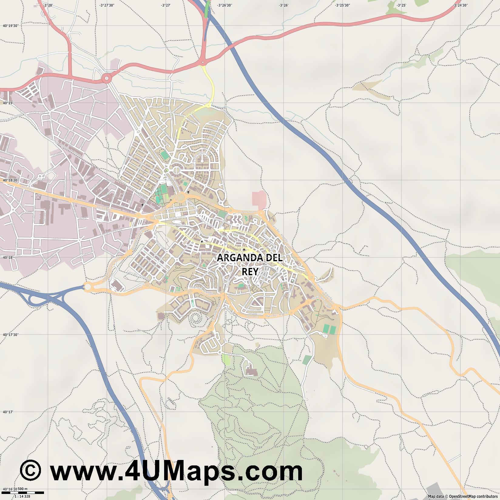Arganda del Rey  jpg ultra high detail preview vector city map