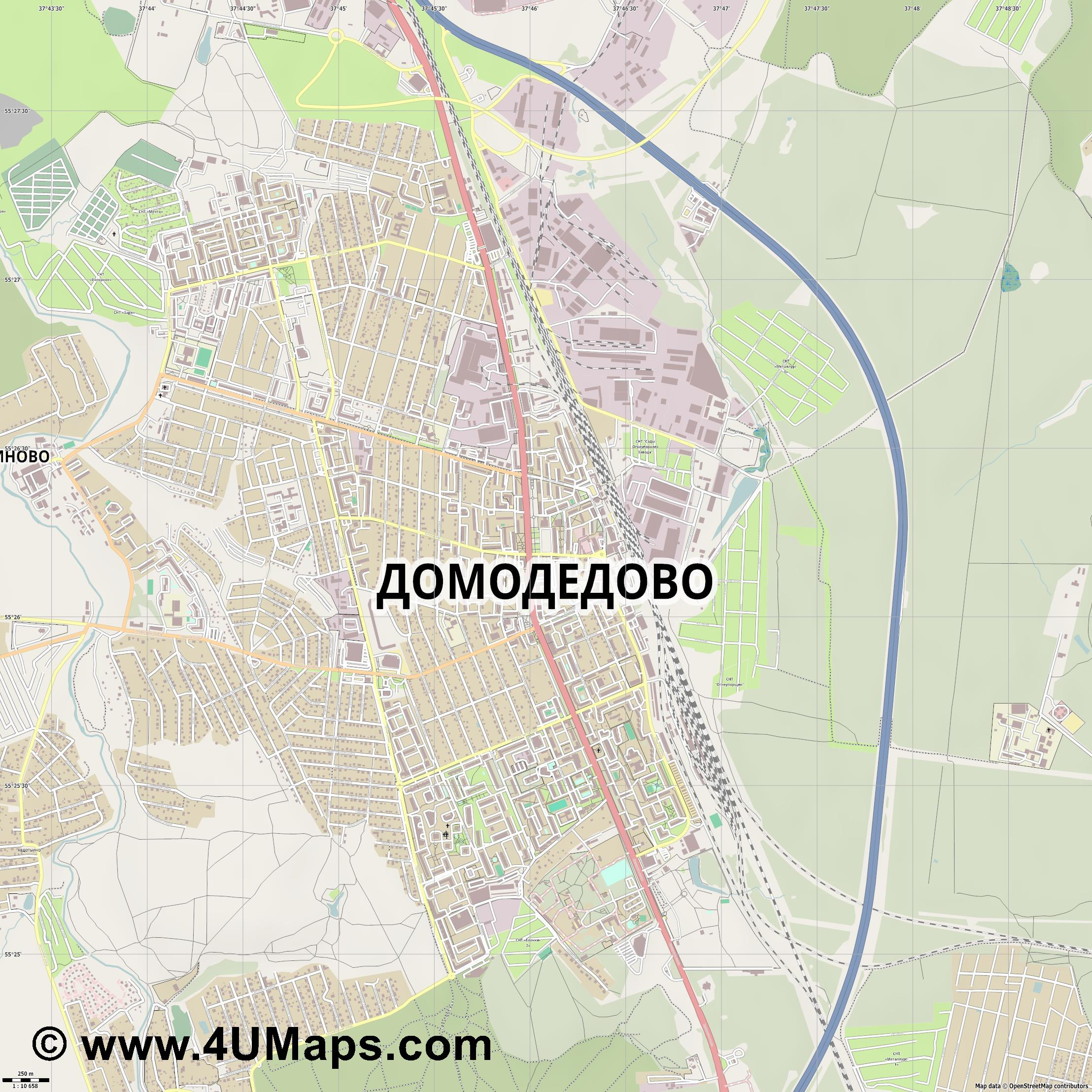 Домодедово Domodedovo Domodedowo  jpg ultra high detail preview vector city map