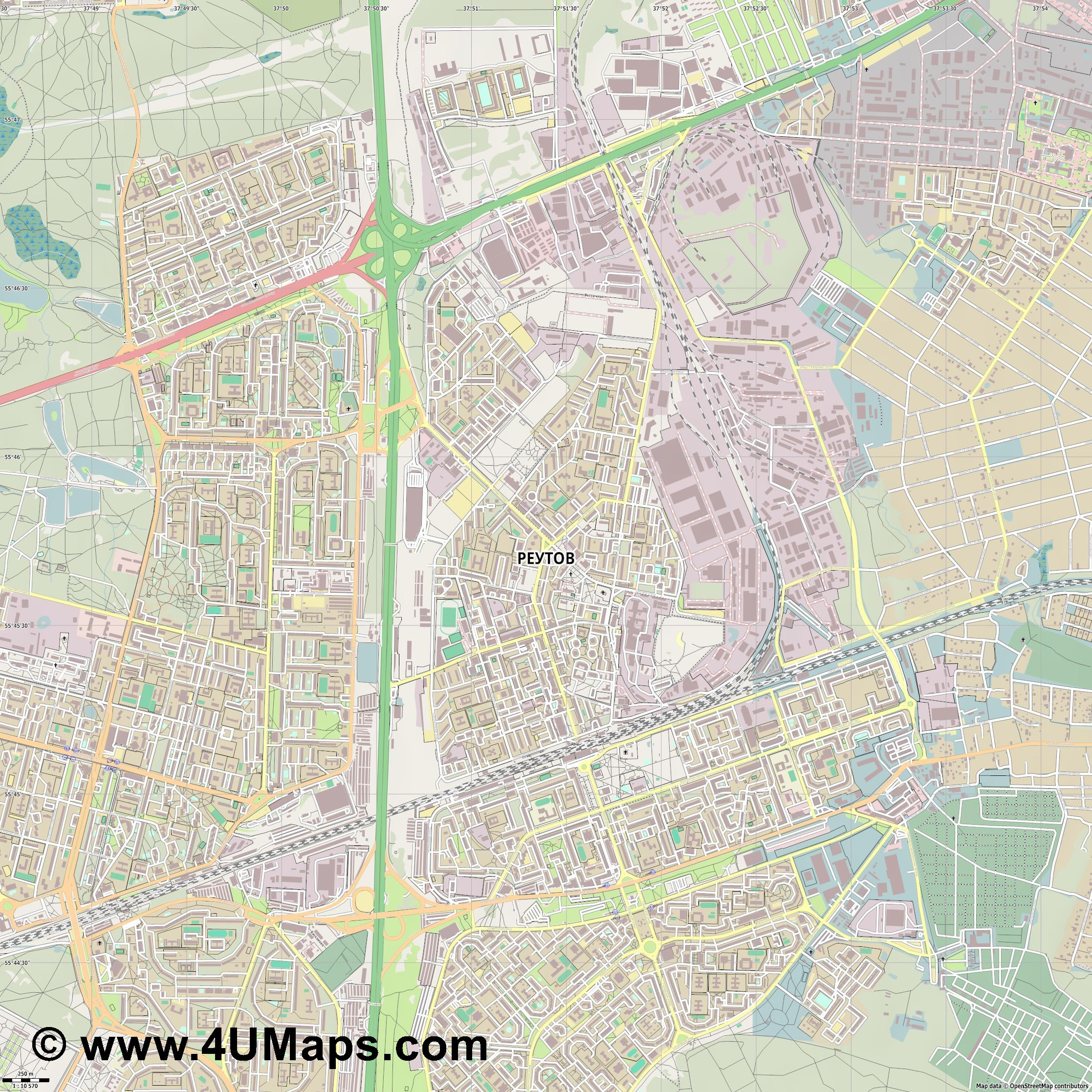 Реутов Reutow  jpg ultra high detail preview vector city map