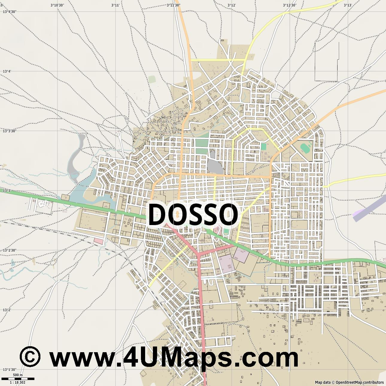 Dosso  jpg ultra high detail preview vector city map