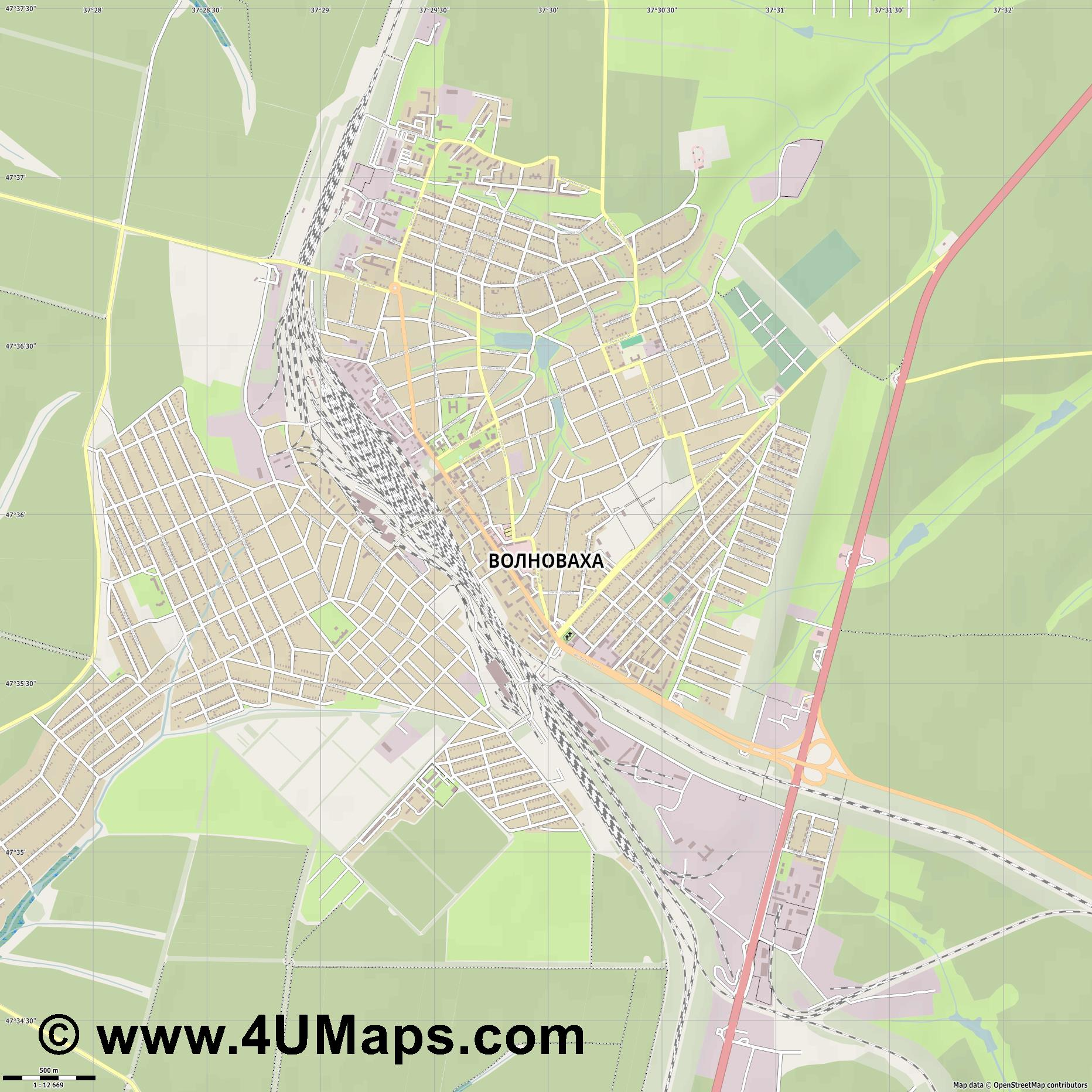 Волноваха Volnovakha Volnovaja Wolnowacha  jpg ultra high detail preview vector city map
