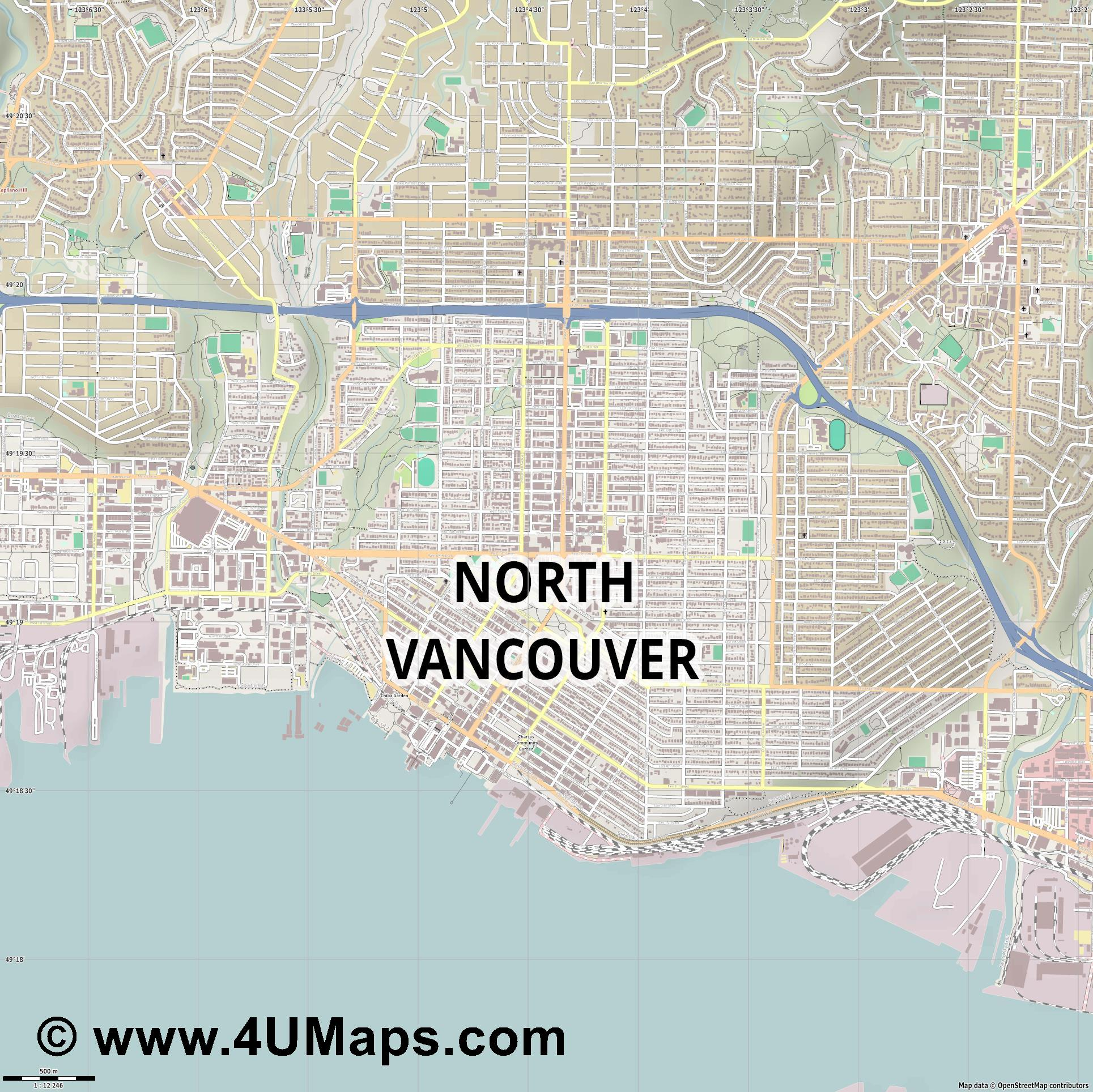 North Vancouver City  jpg ultra high detail preview vector city map