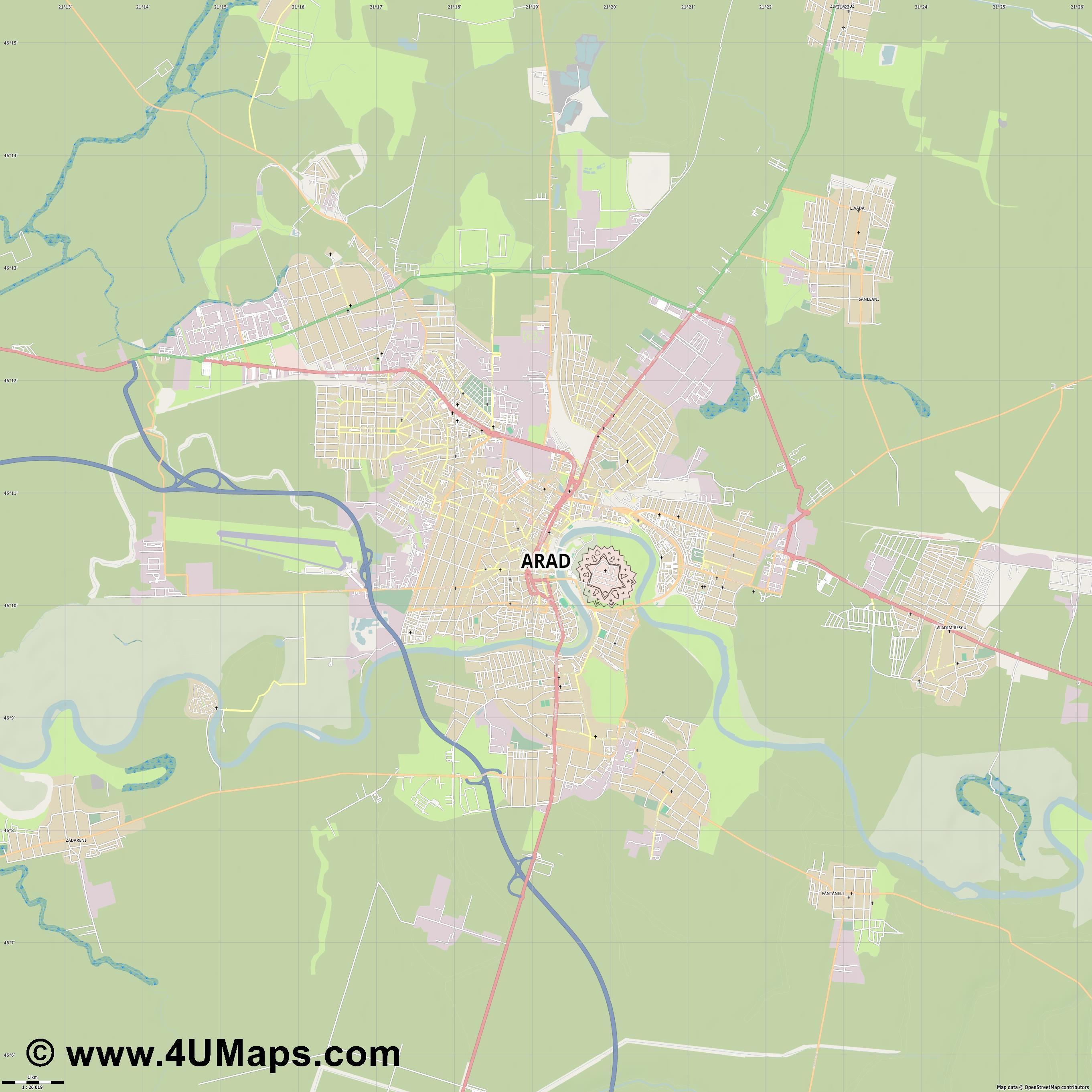 Arad  jpg high detail, large area preview vector city map