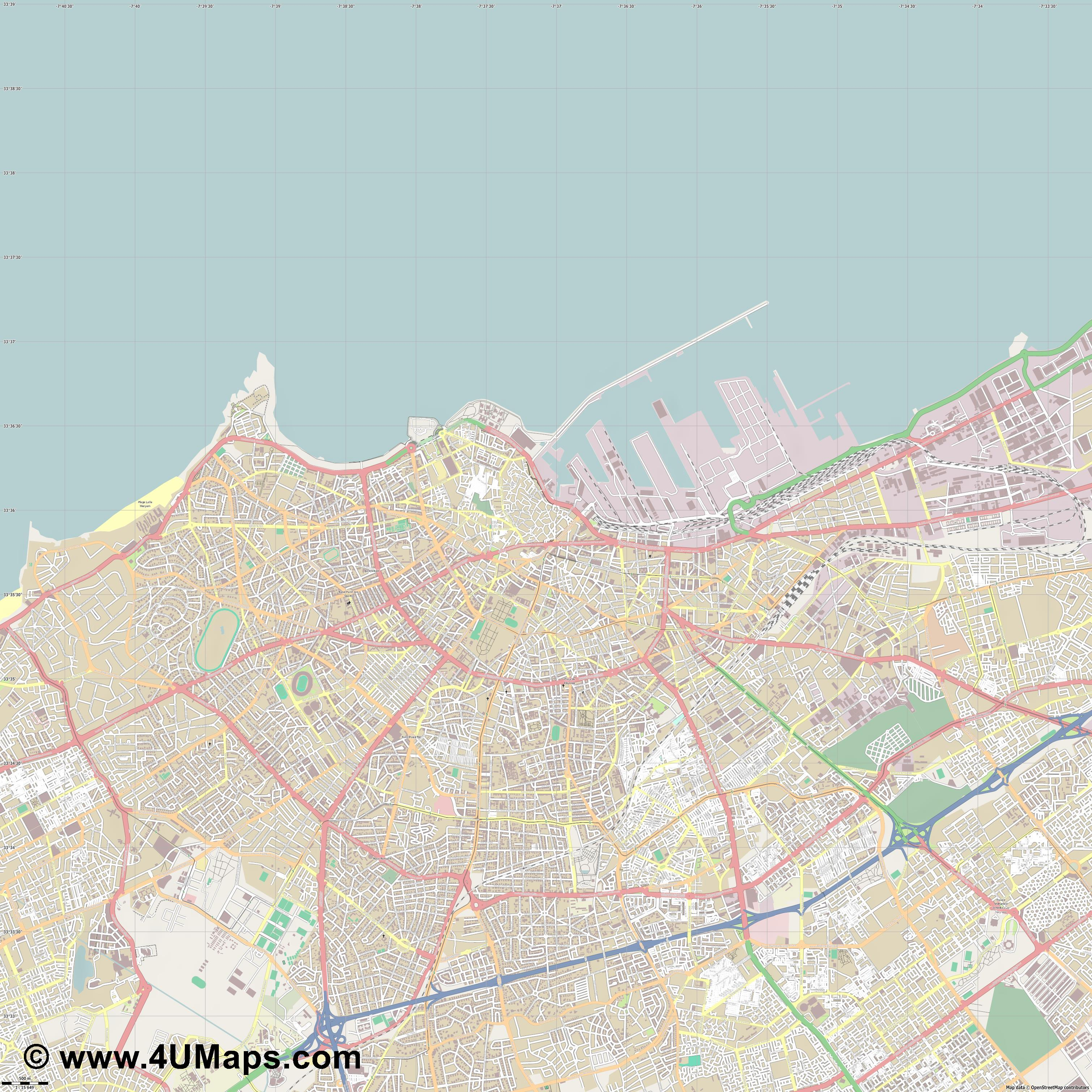 الدار البيضاء Casablanca  jpg ultra high detail preview vector city map
