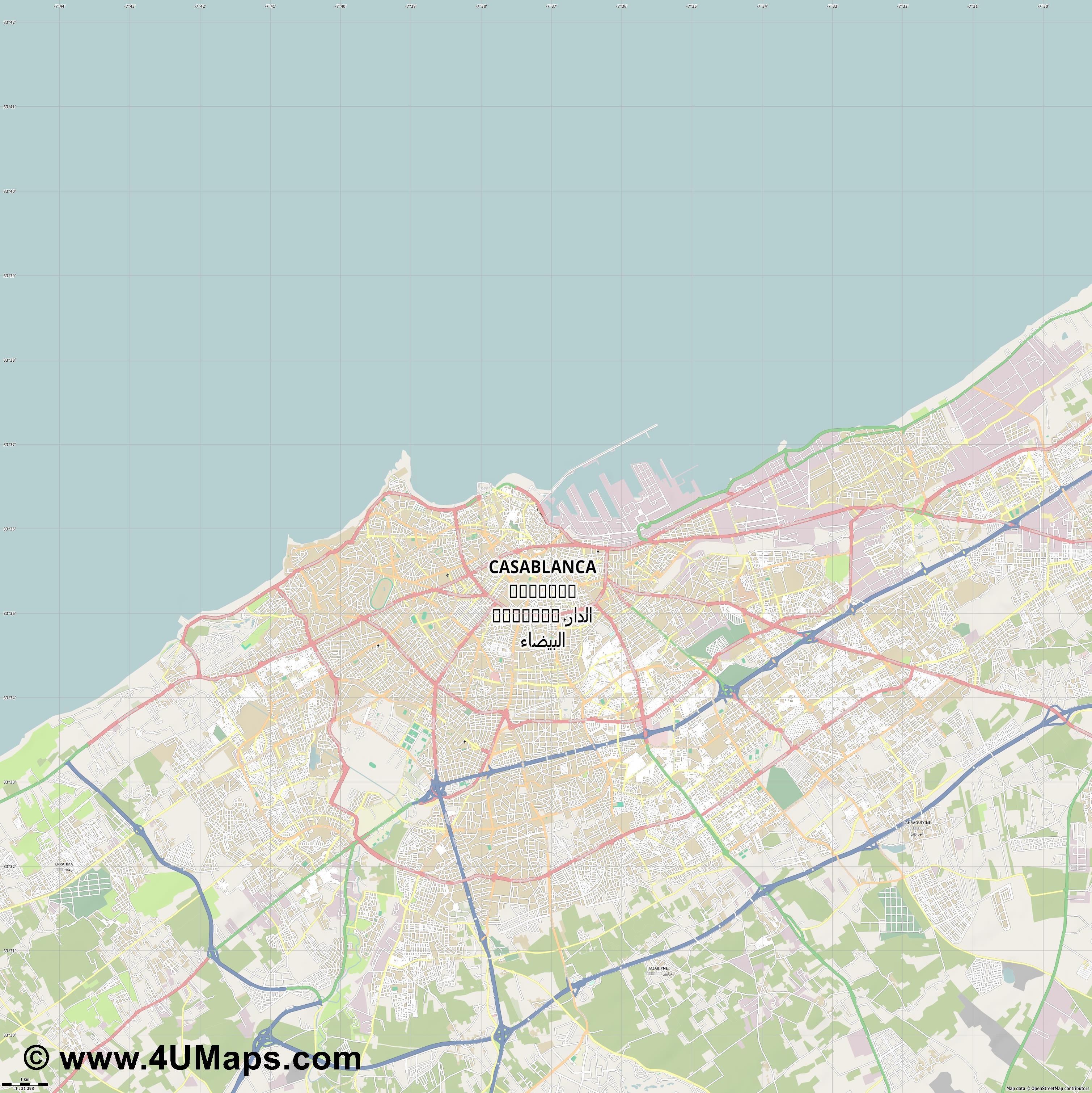 الدار البيضاء Casablanca  jpg high detail, large area preview vector city map