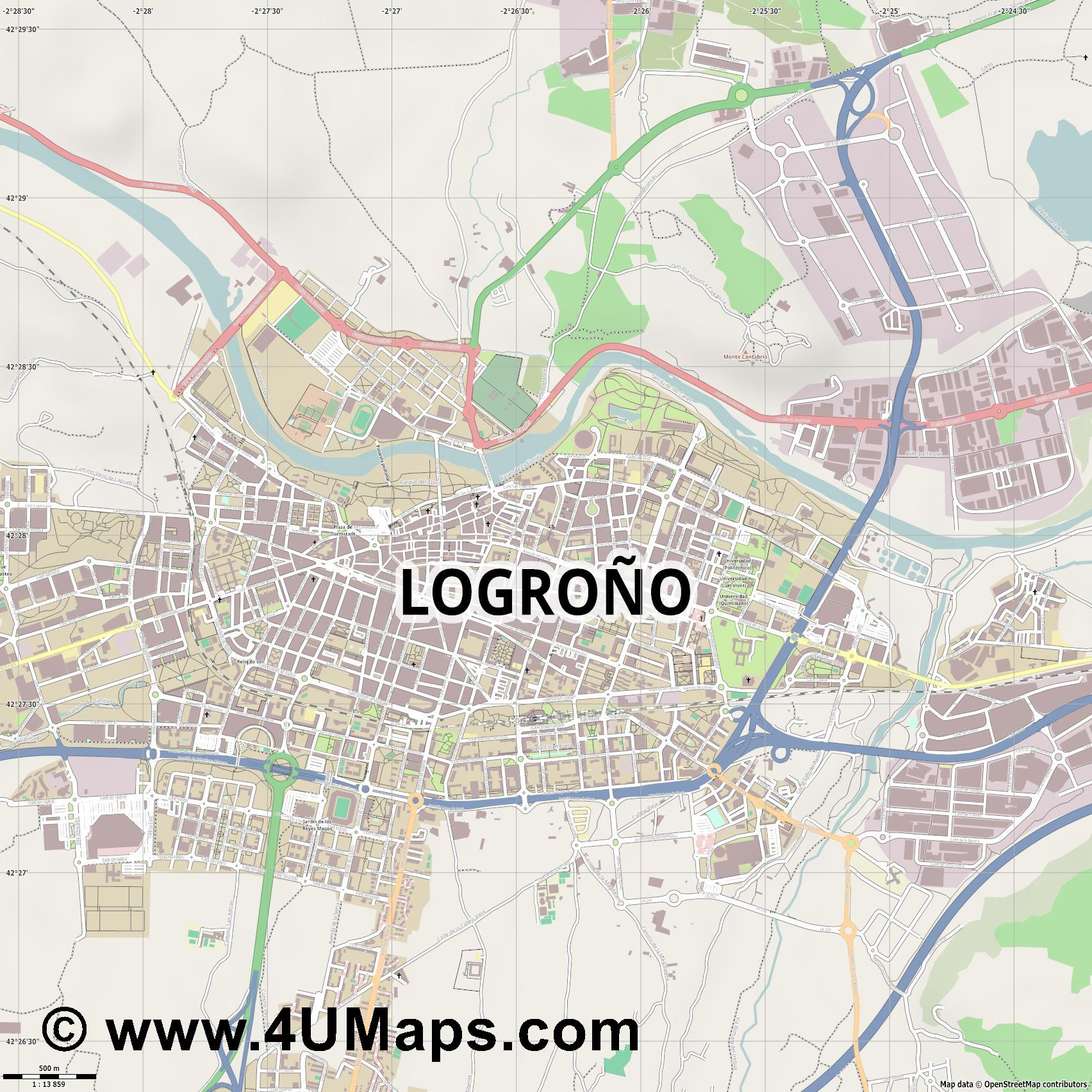 Logroño  jpg ultra high detail preview vector city map
