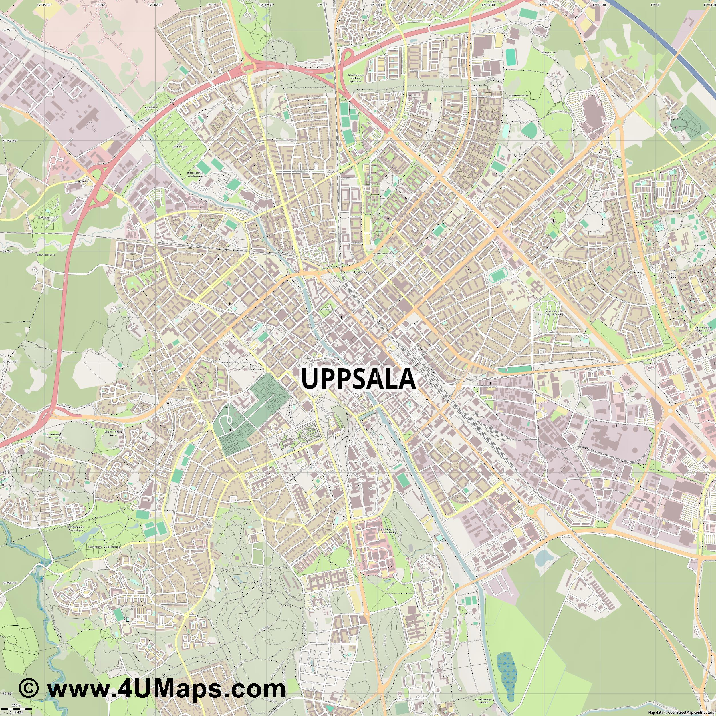 Uppsala  jpg ultra high detail preview vector city map