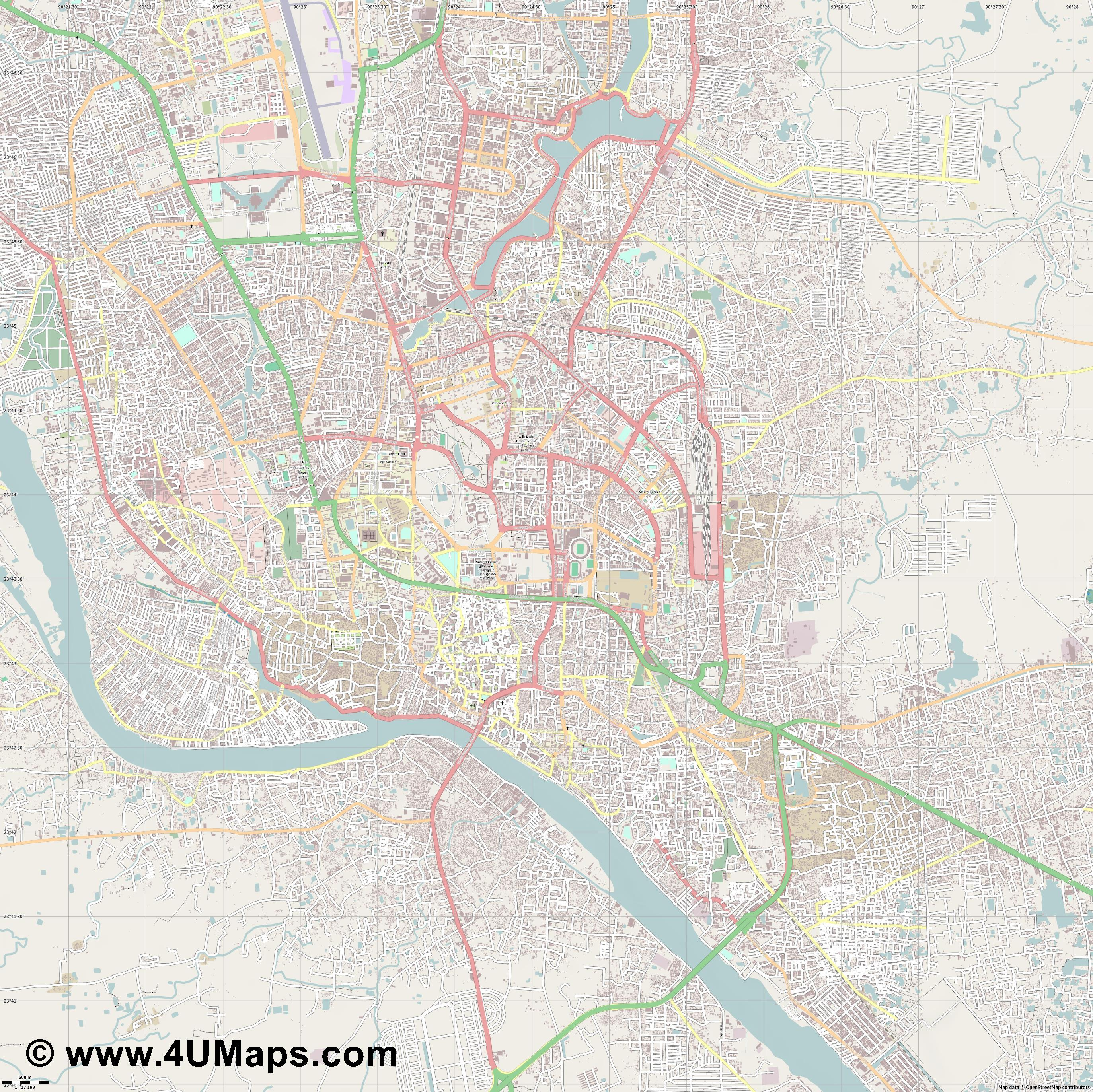 Dhaka Dacca  jpg ultra high detail preview vector city map