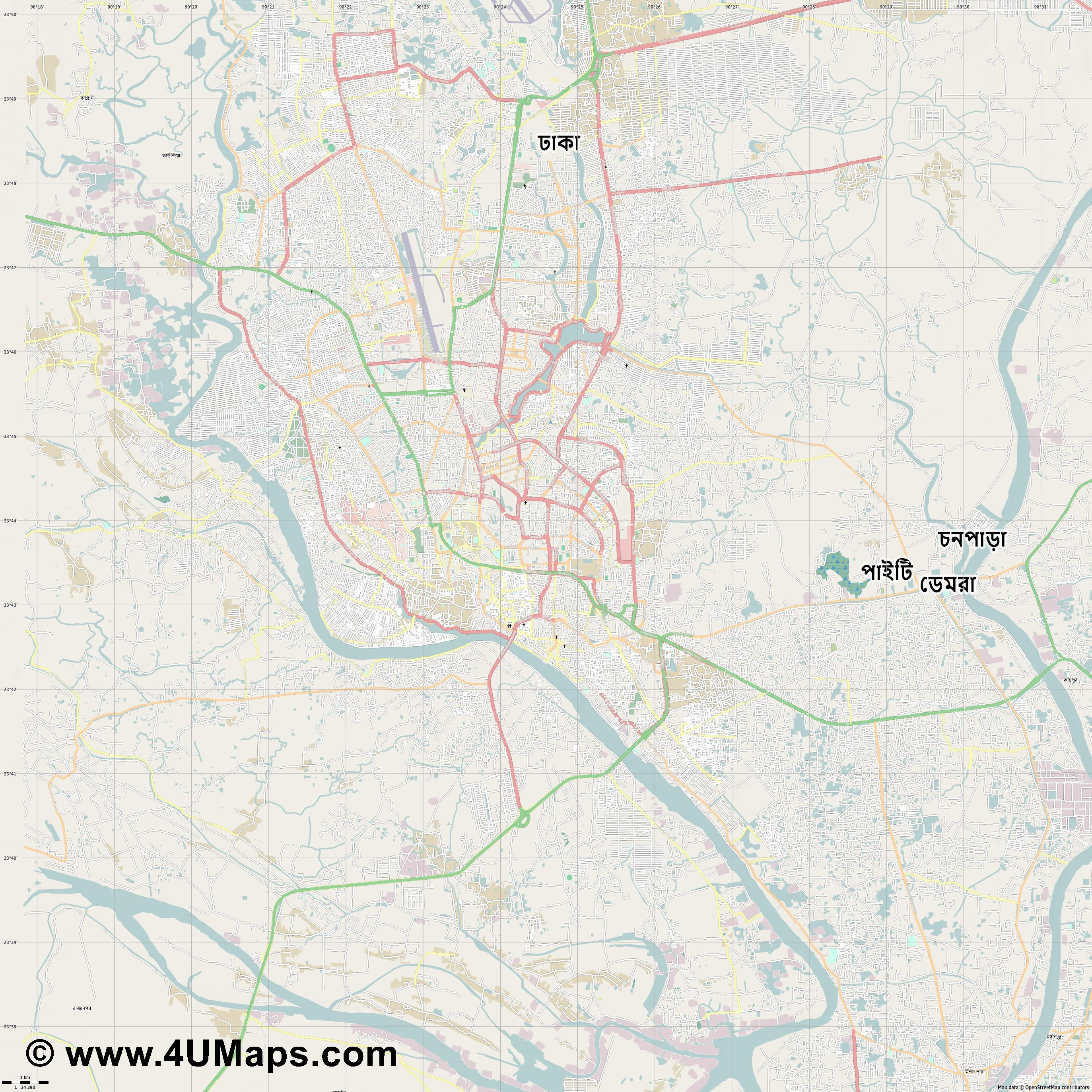 Dhaka Dacca  jpg high detail, large area preview vector city map