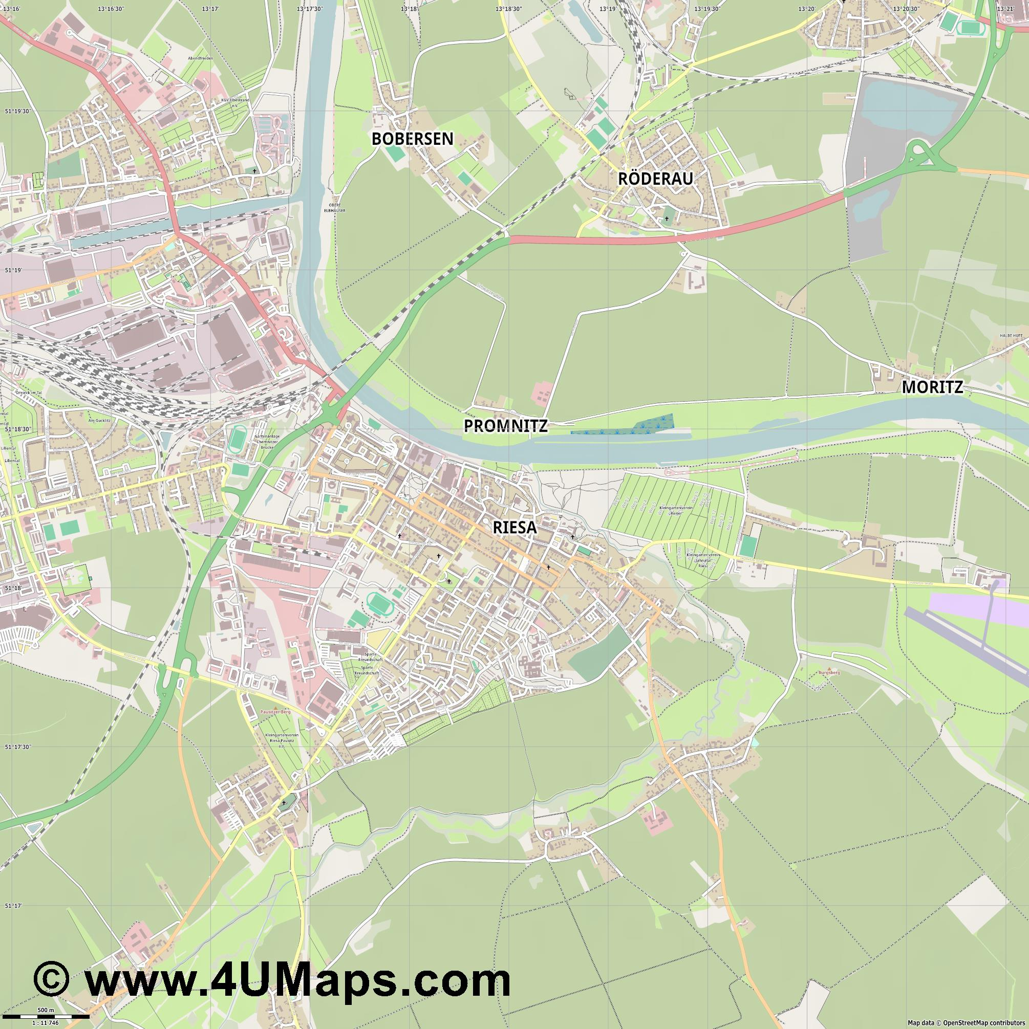 Riesa  jpg ultra high detail preview vector city map
