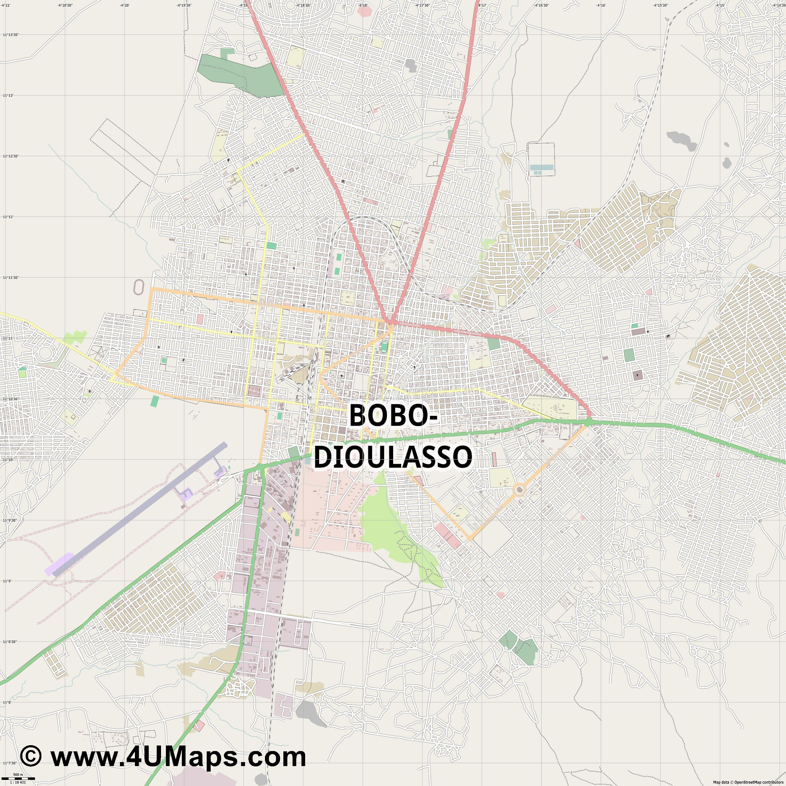 Bobo Dioulasso  jpg ultra high detail preview vector city map