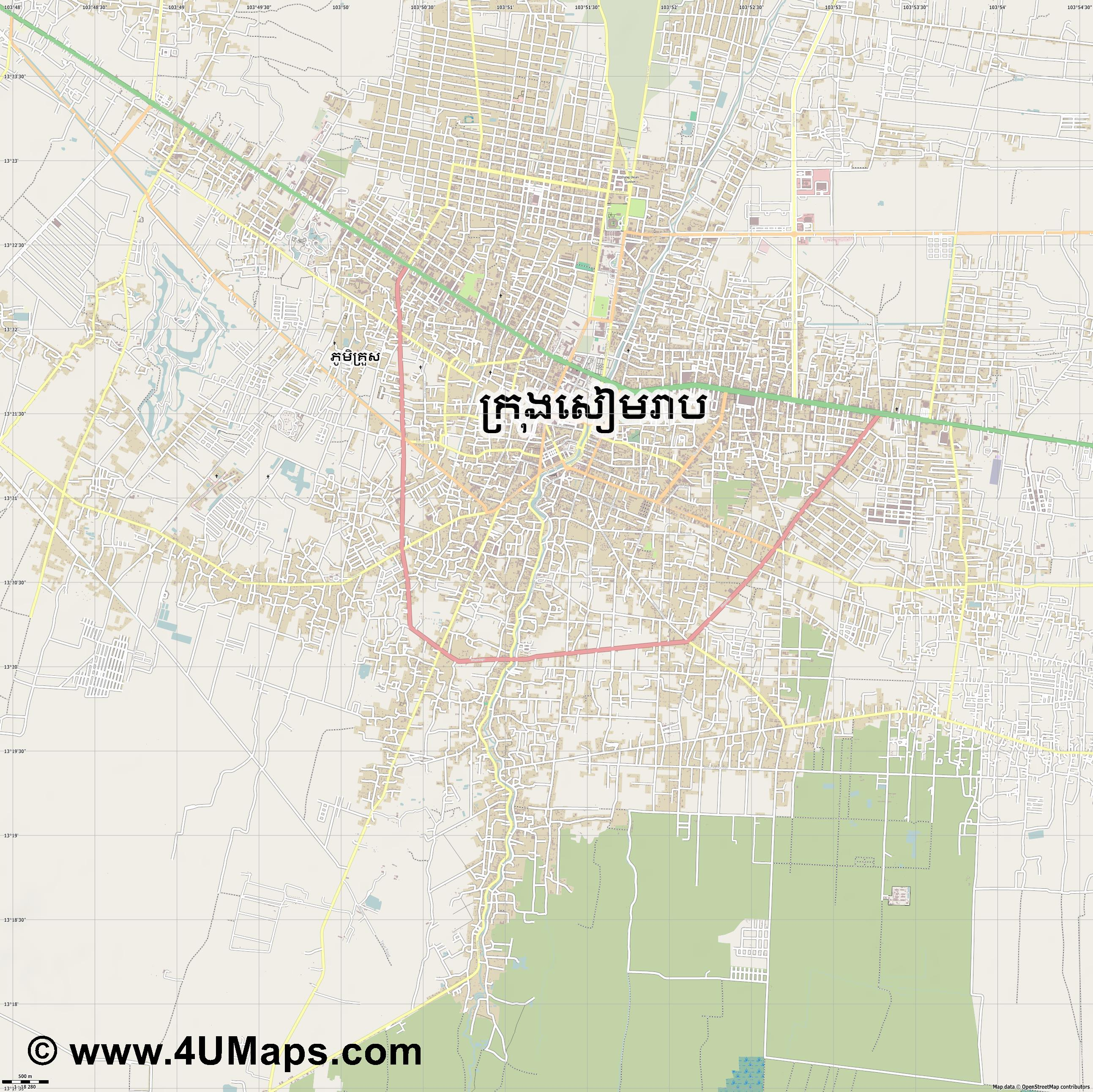 Siem Reap Ciudad de Siem Riep  jpg ultra high detail preview vector city map