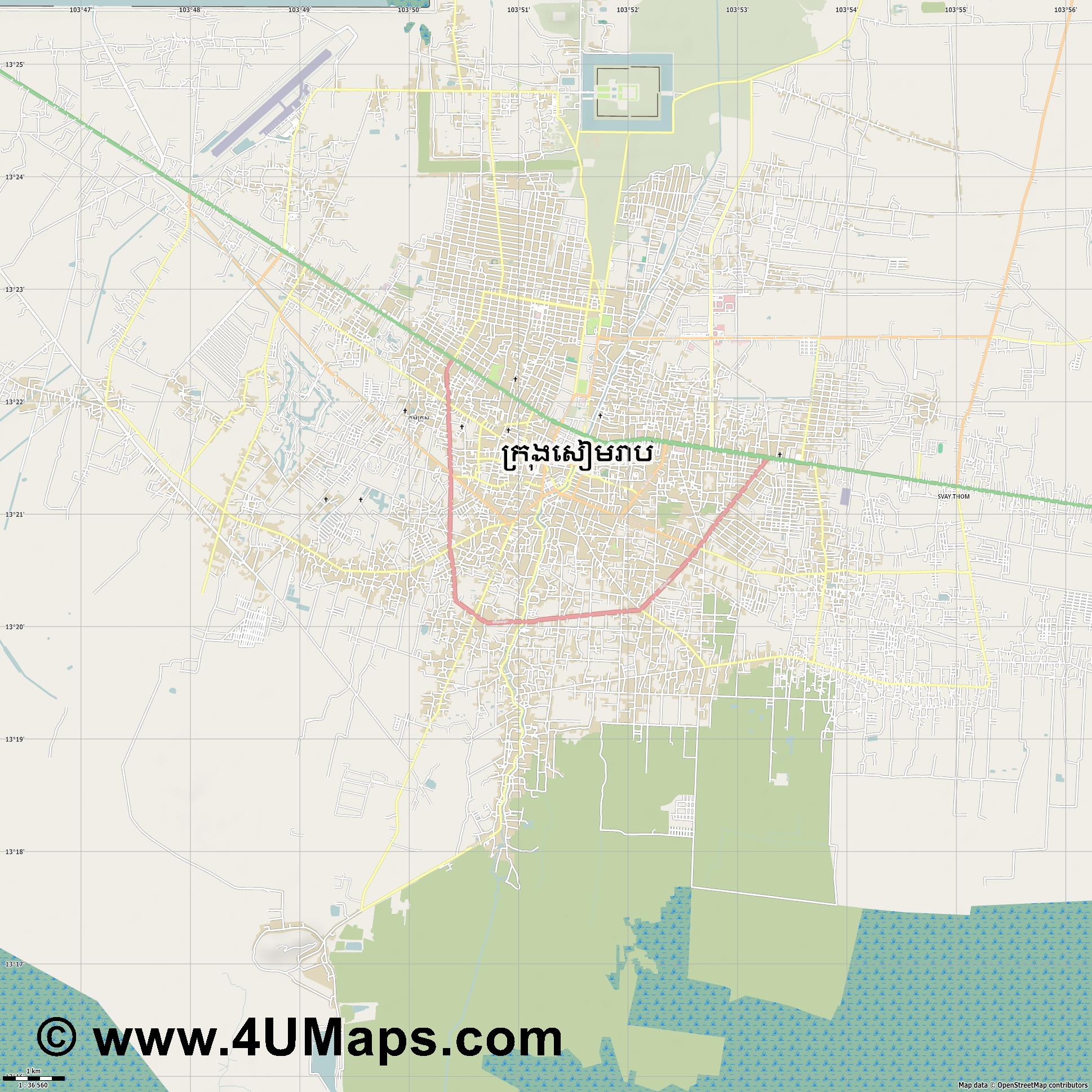 Siem Reap Ciudad de Siem Riep  jpg high detail, large area preview vector city map