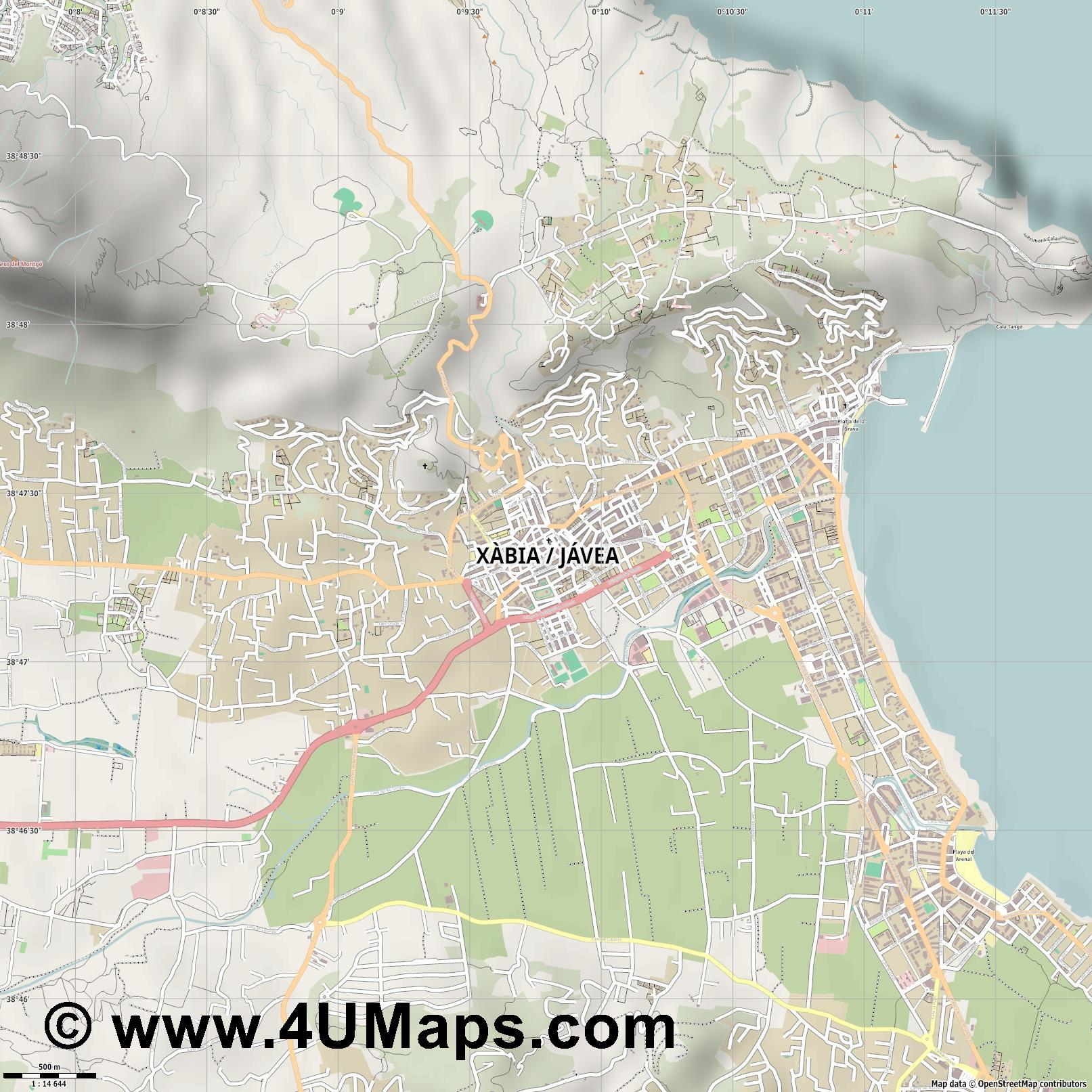 Xàbia Jávea  jpg ultra high detail preview vector city map