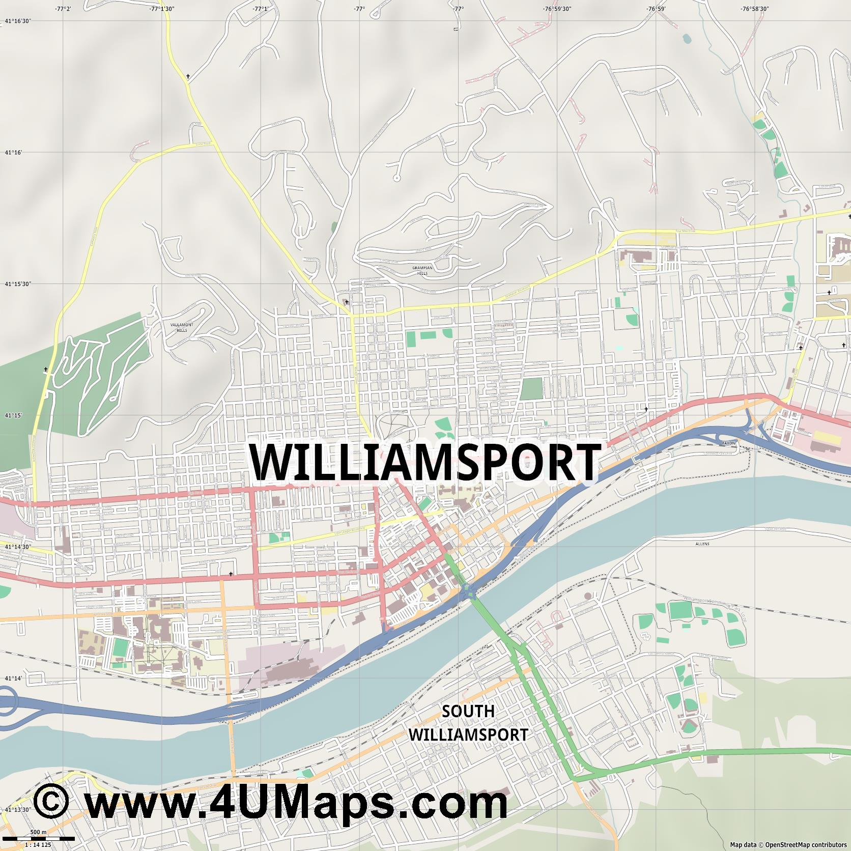 Williamsport  jpg ultra high detail preview vector city map