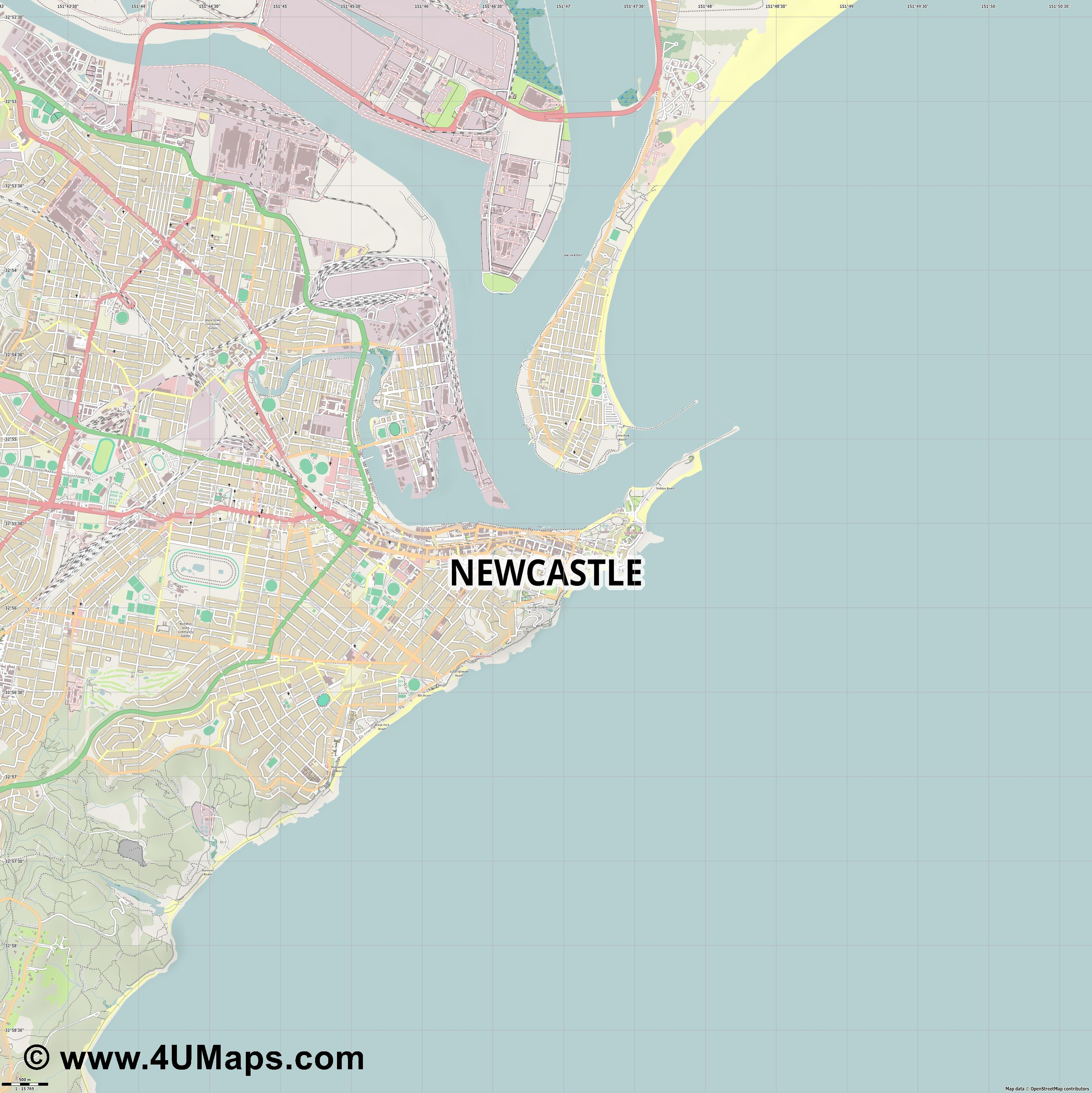 Newcastle  jpg ultra high detail preview vector city map