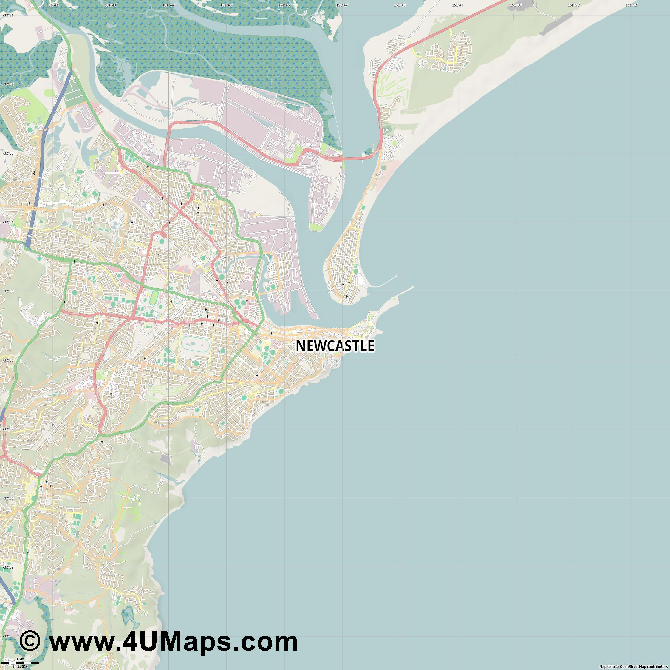 Newcastle  jpg high detail, large area preview vector city map