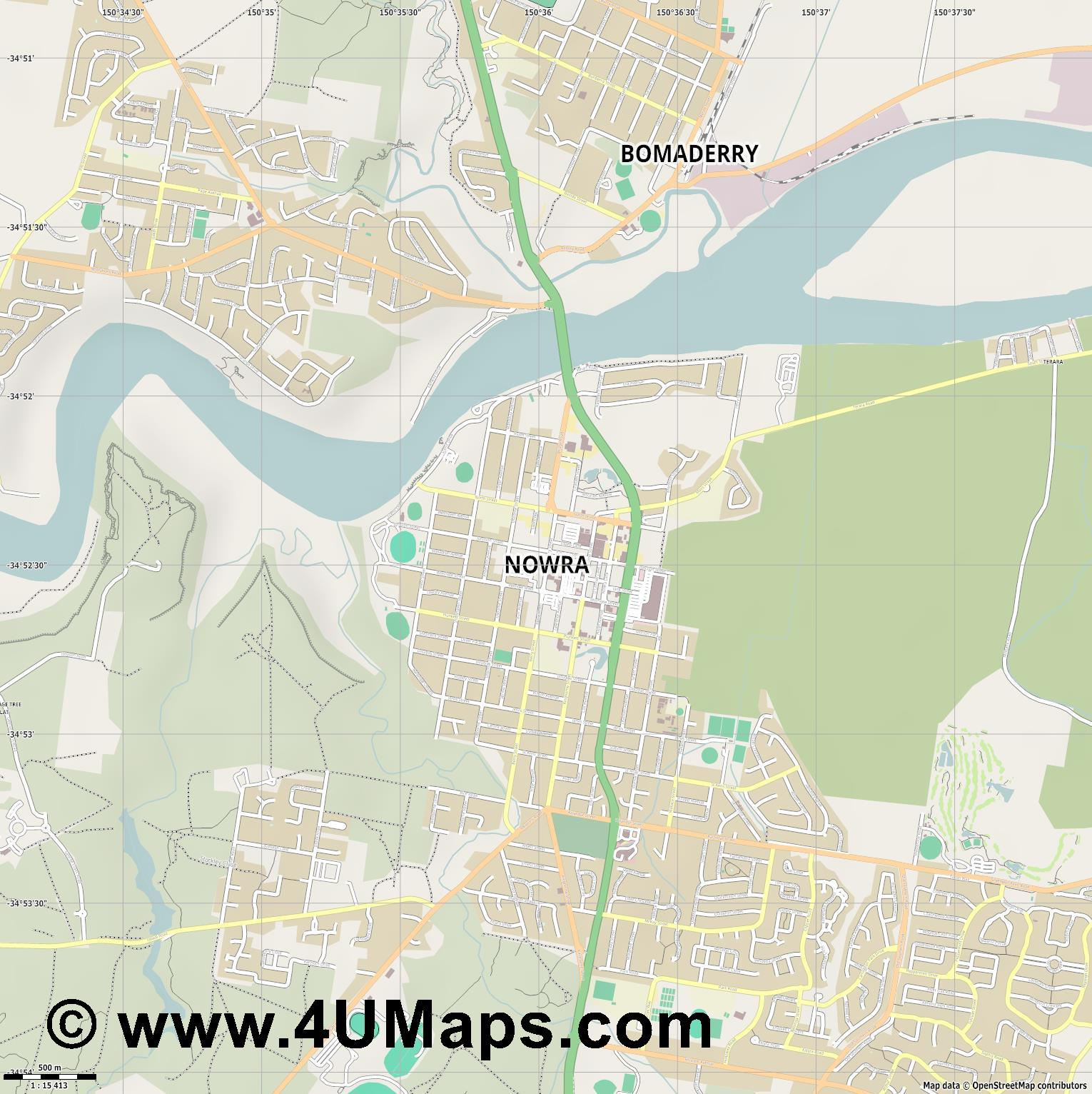 Nowra  jpg ultra high detail preview vector city map