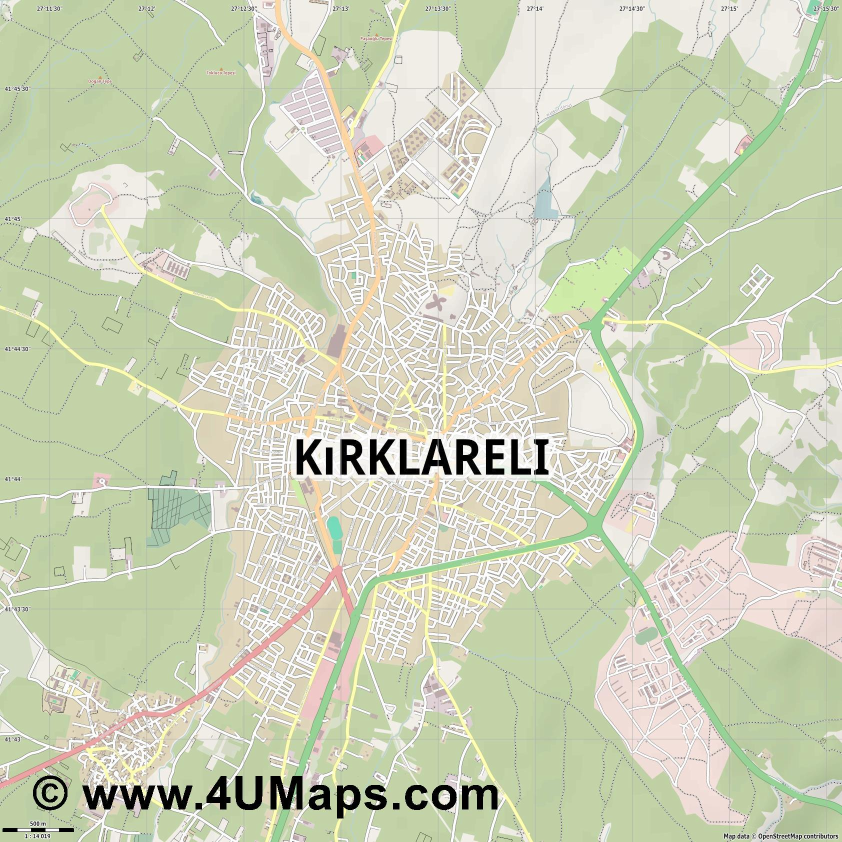 Kırklareli  jpg ultra high detail preview vector city map