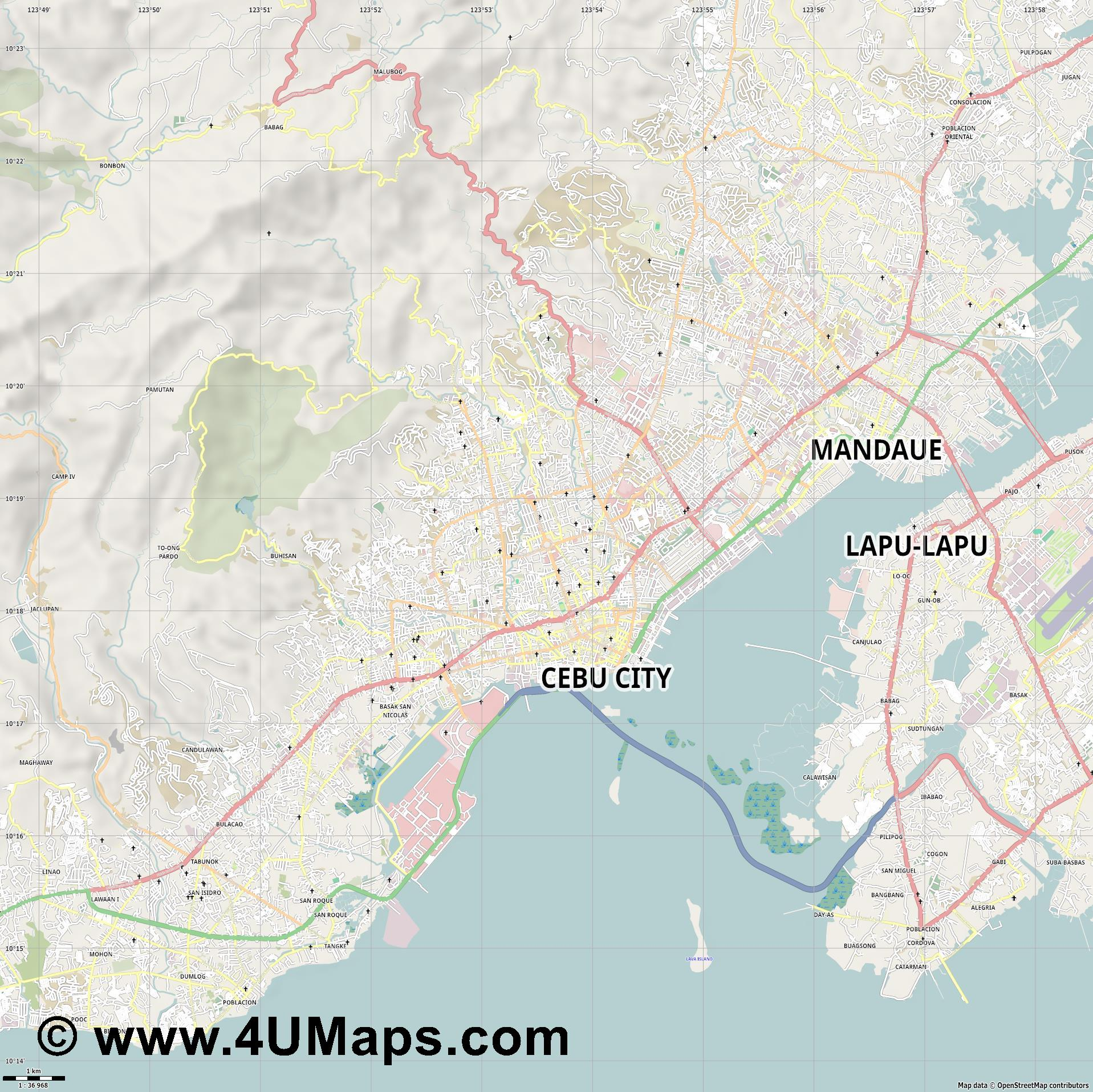 Cebu City  jpg high detail, large area preview vector city map
