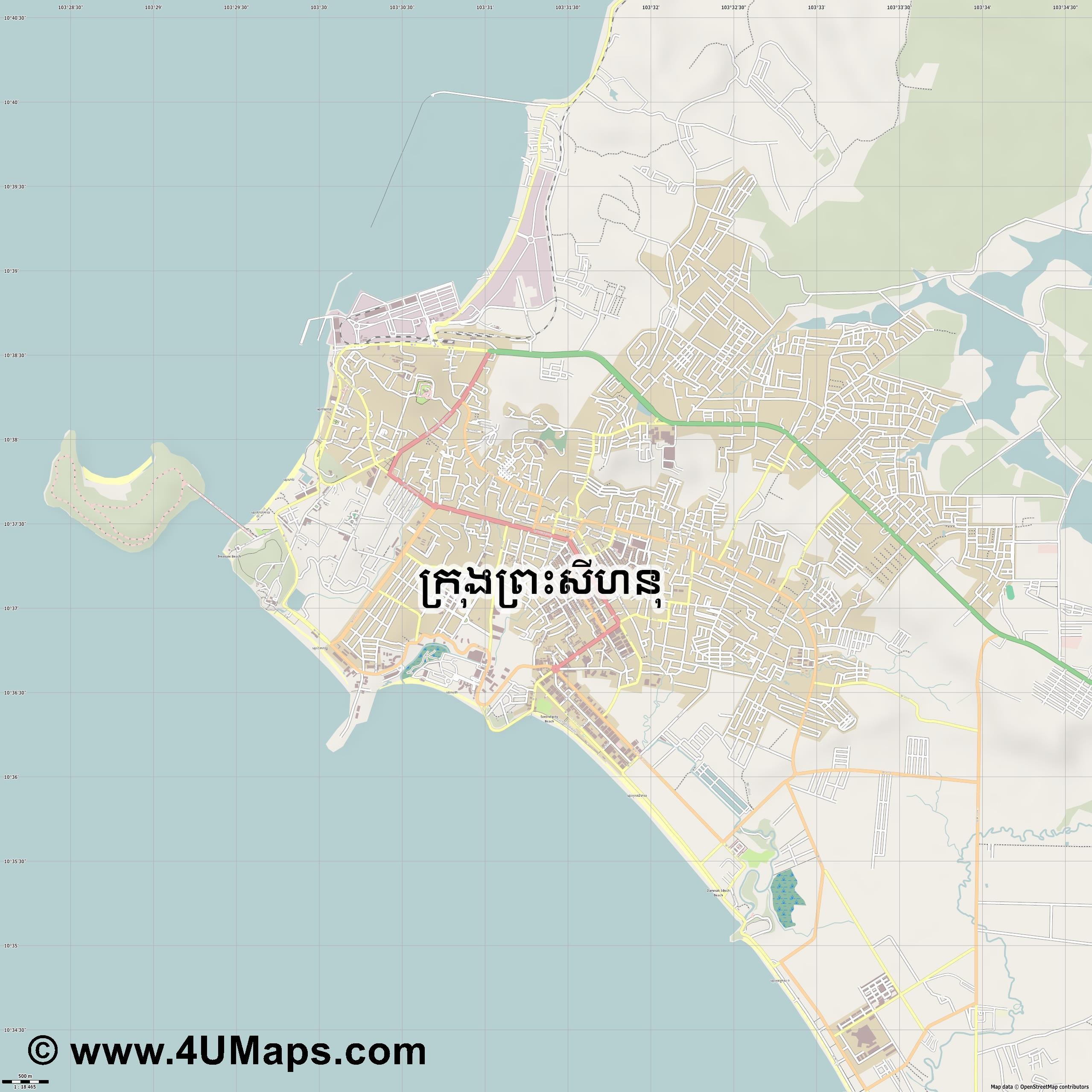 Sihanoukville  jpg ultra high detail preview vector city map