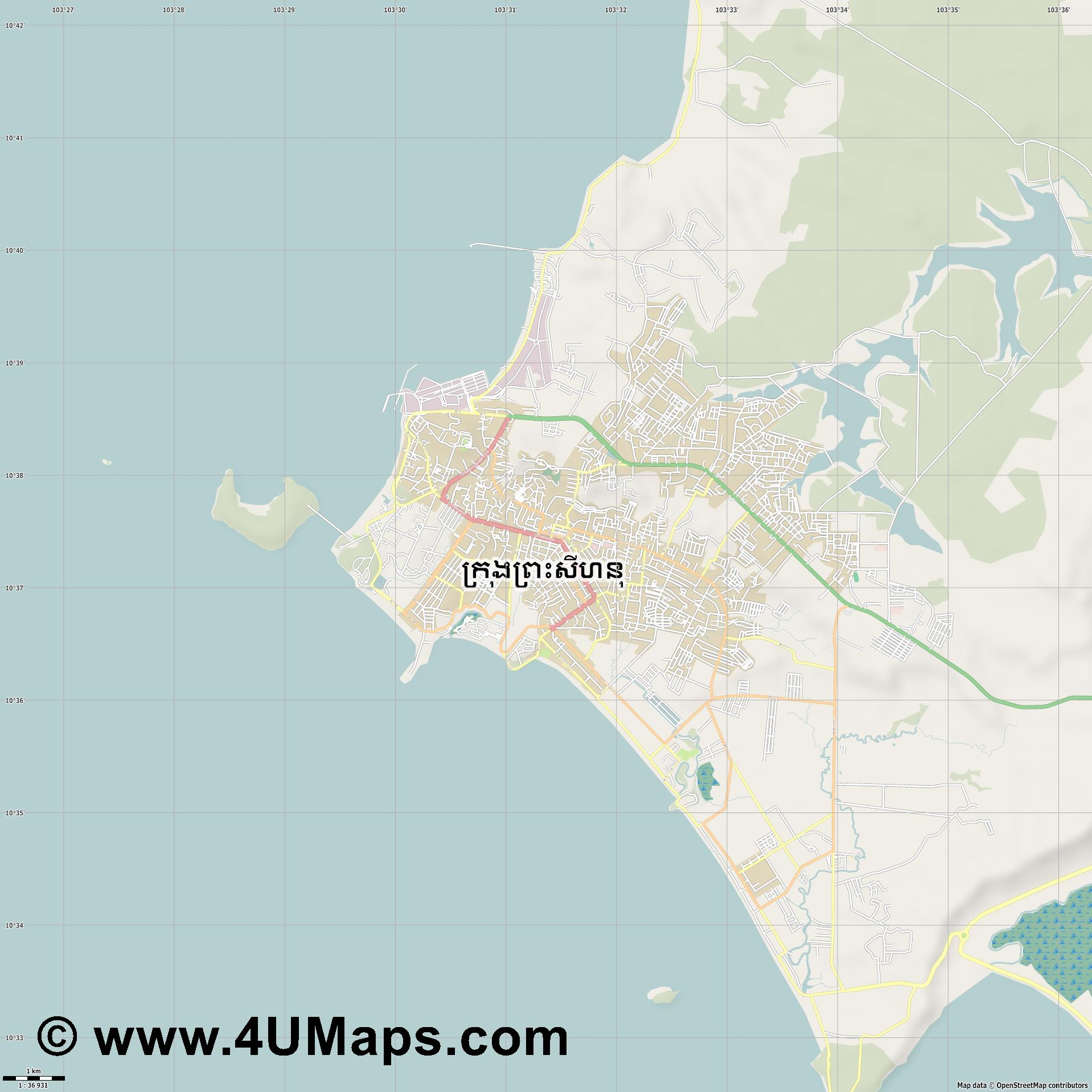 Sihanoukville  jpg high detail, large area preview vector city map